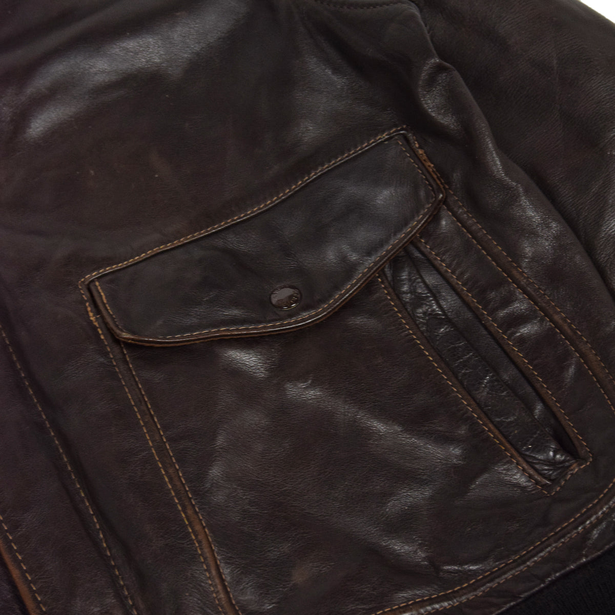 Vintage 80s A-2 Schott Brown Leather Flight Bomber Flying Jacket Made in USA M lower pocket
