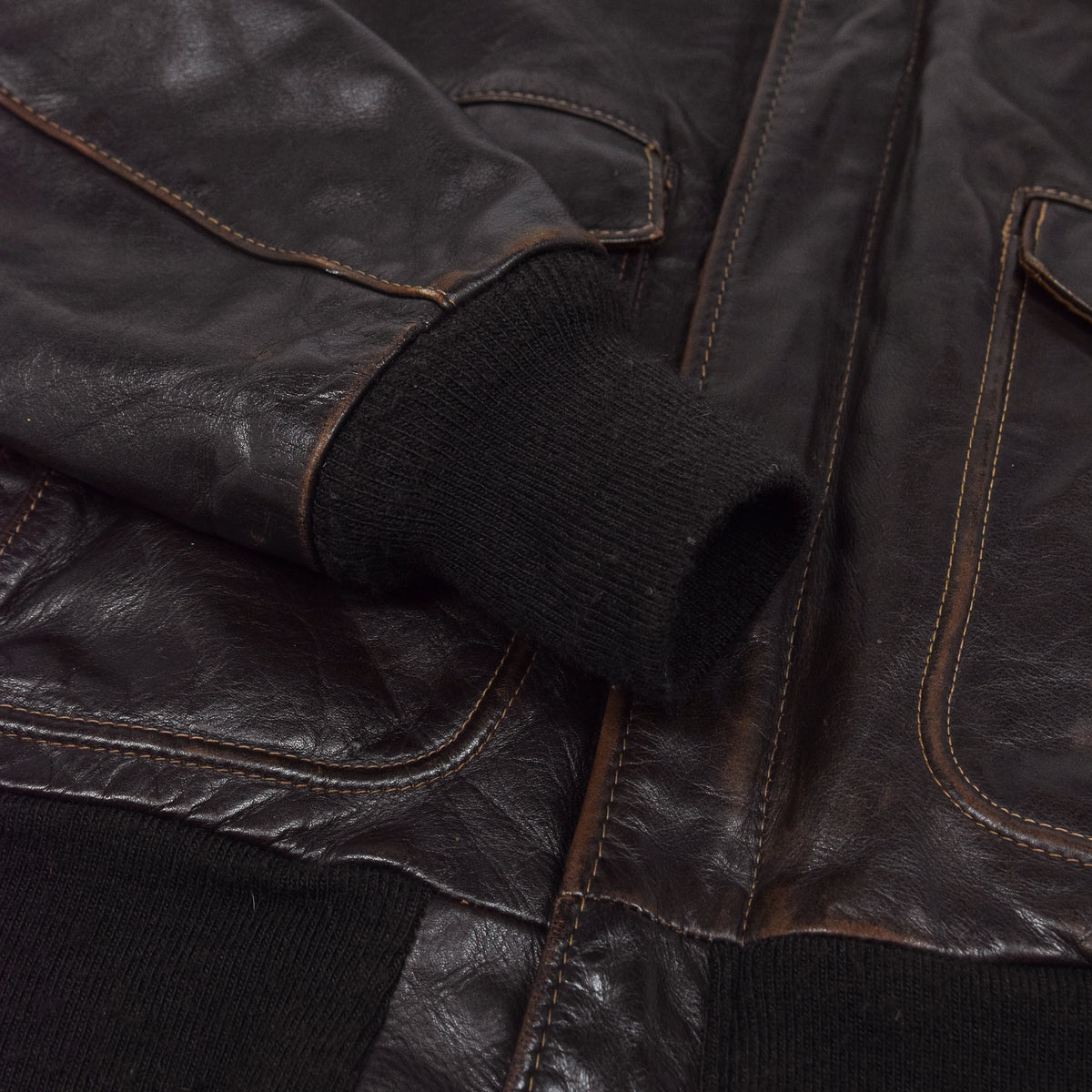 Vintage 80s A-2 Schott Brown Leather Flight Bomber Flying Jacket Made in USA M cuff