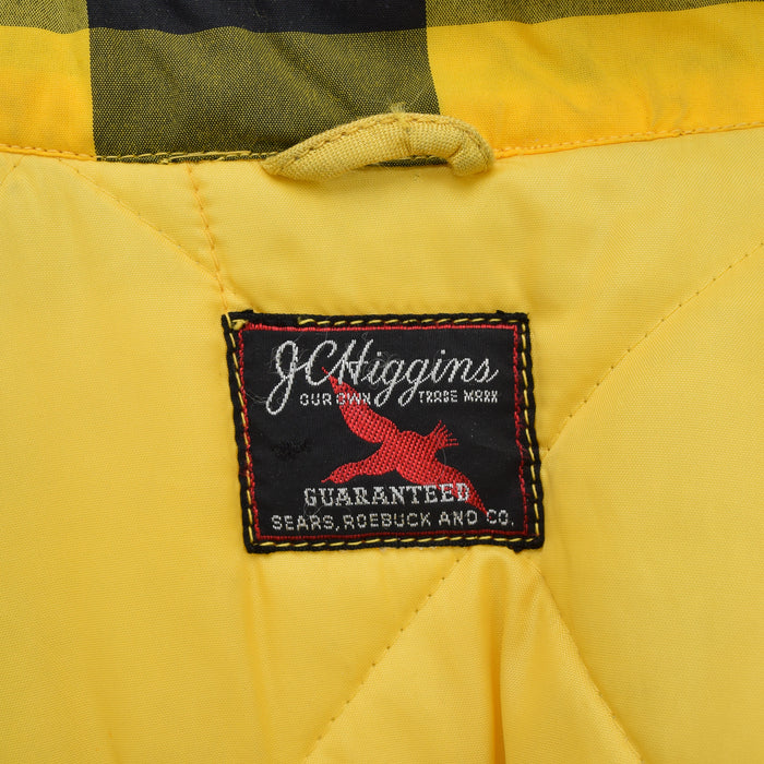 Vintage Sears Plaid Check Yellow Hunting Style Jacket Made in USA L label