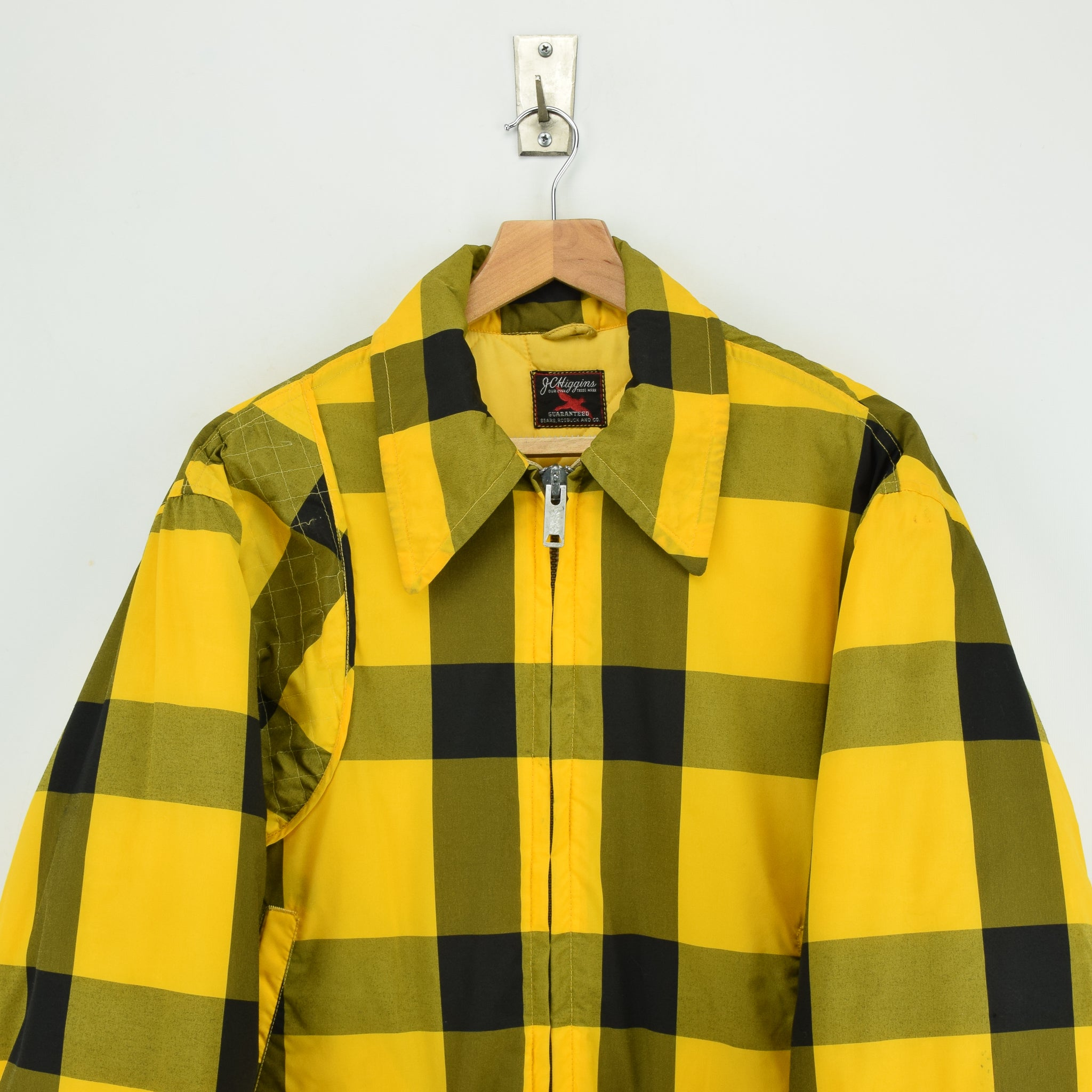 Vintage Sears Plaid Check Yellow Hunting Style Jacket Made in USA L chest