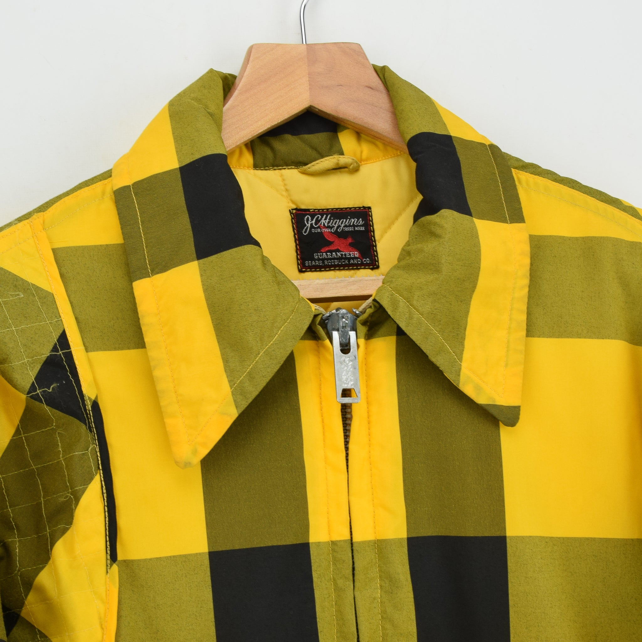 Vintage Sears Plaid Check Yellow Hunting Style Jacket Made in USA L collar