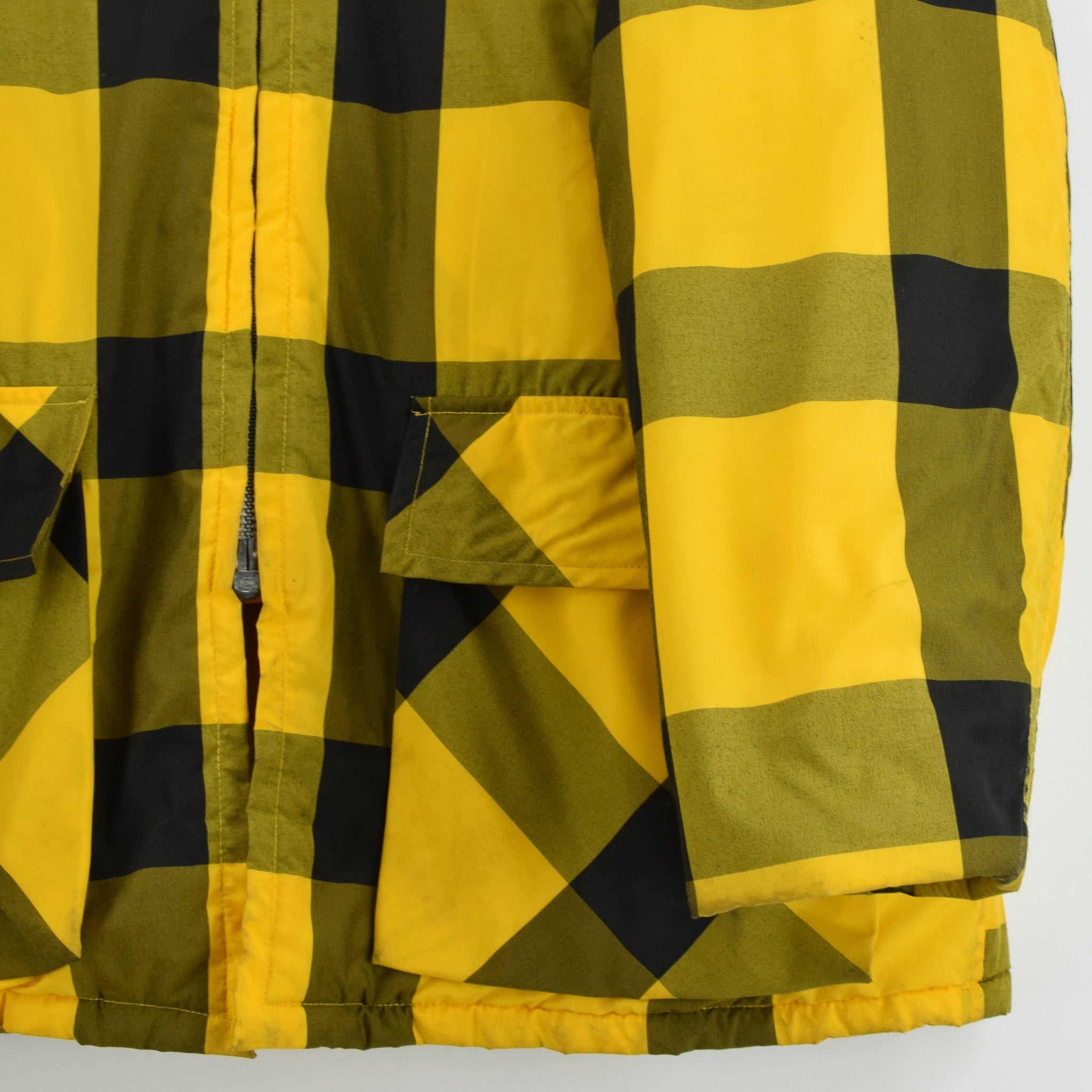 Vintage Sears Plaid Check Yellow Hunting Style Jacket Made in USA L front hem