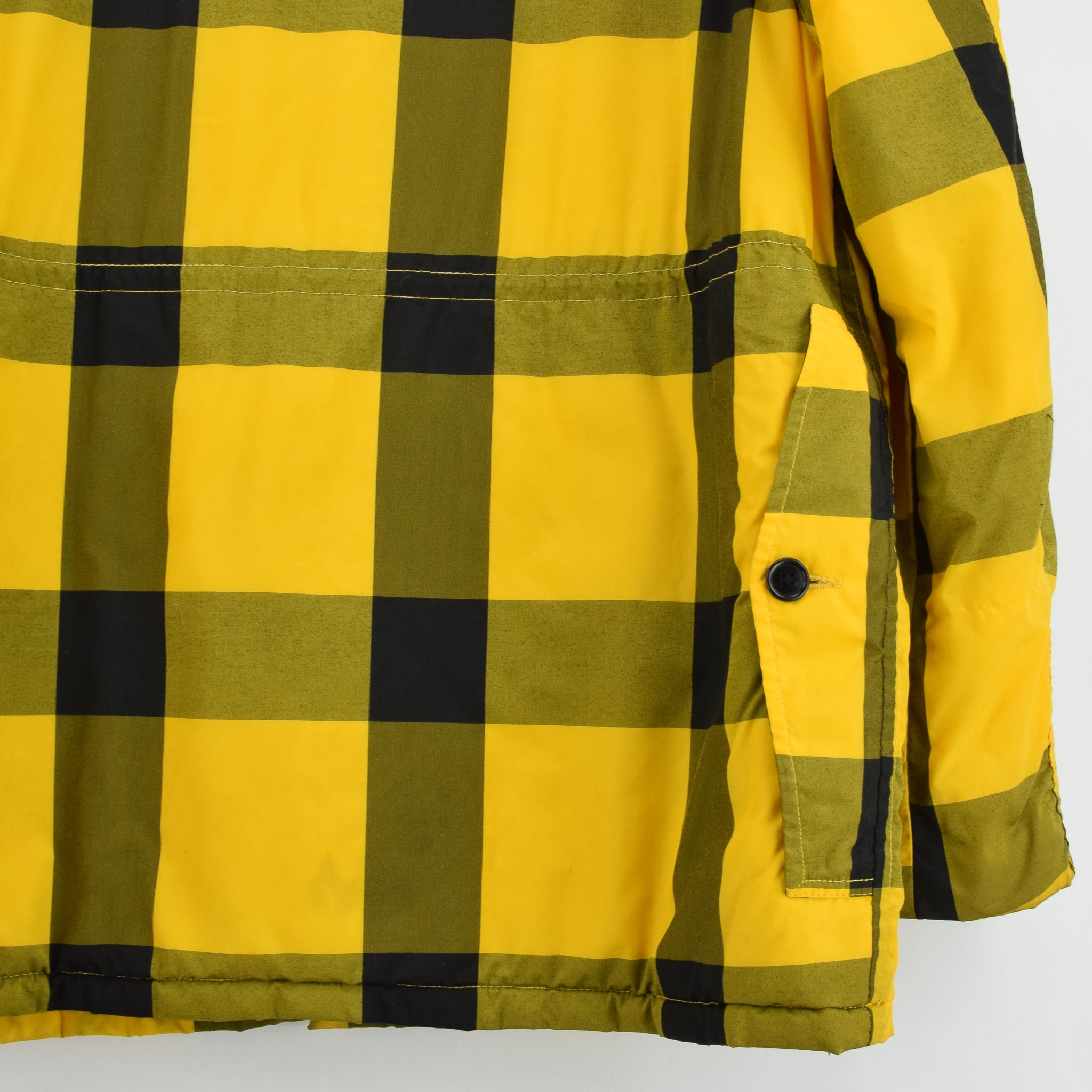 Vintage Sears Plaid Check Yellow Hunting Style Jacket Made in USA L back hem