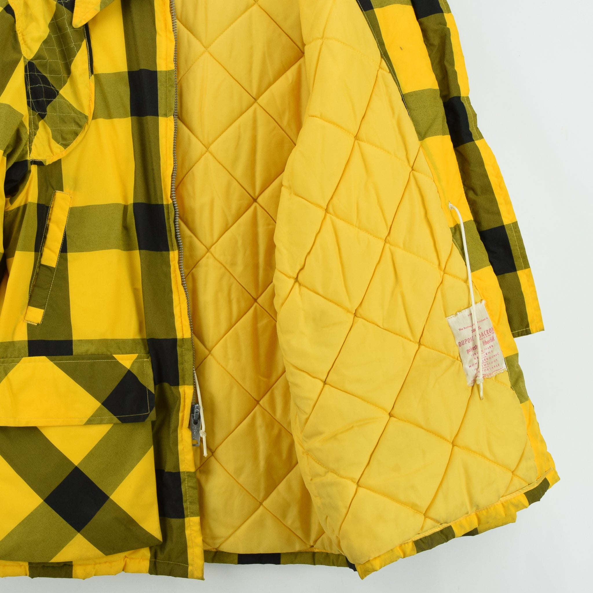 Vintage Sears Plaid Check Yellow Hunting Style Jacket Made in USA L quilt lining