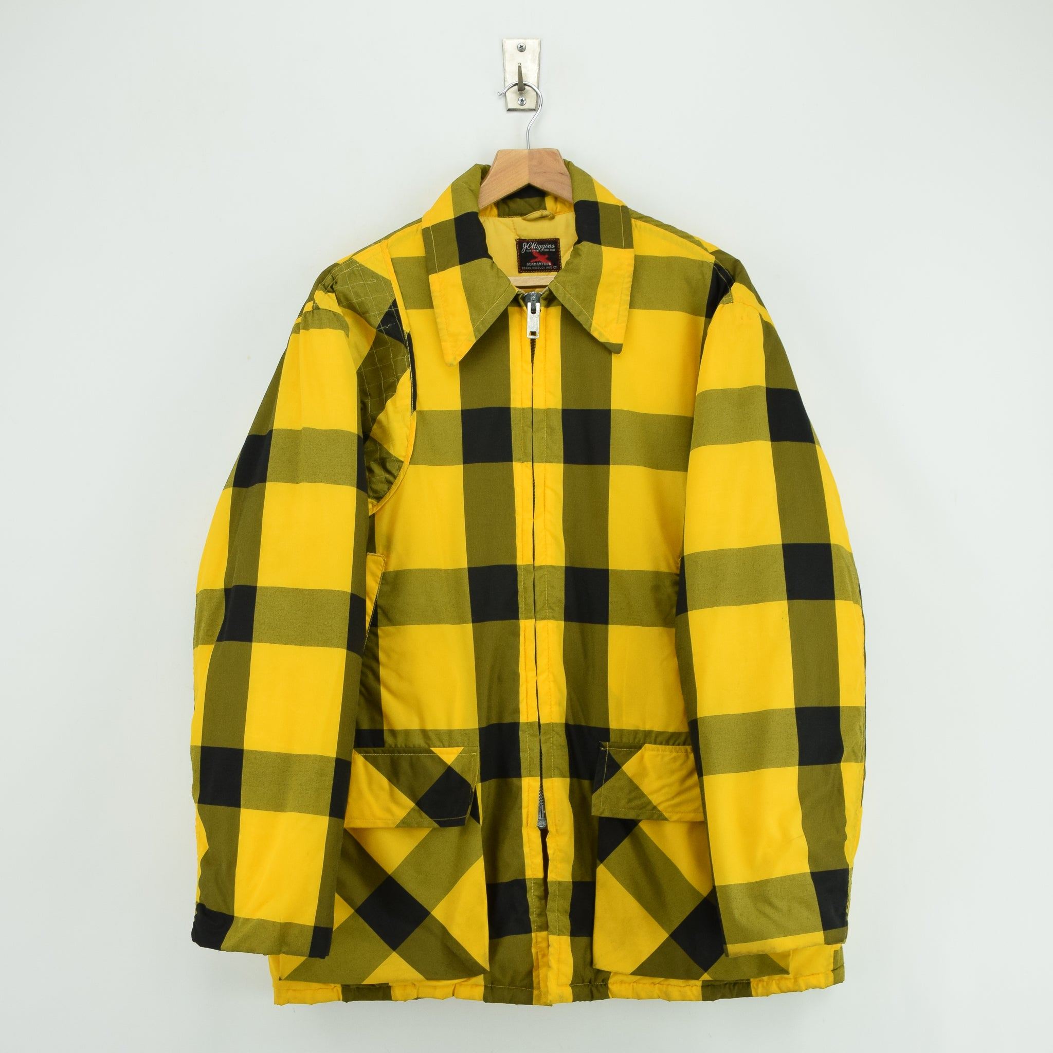 Vintage Sears Plaid Check Yellow Hunting Style Jacket Made in USA L front