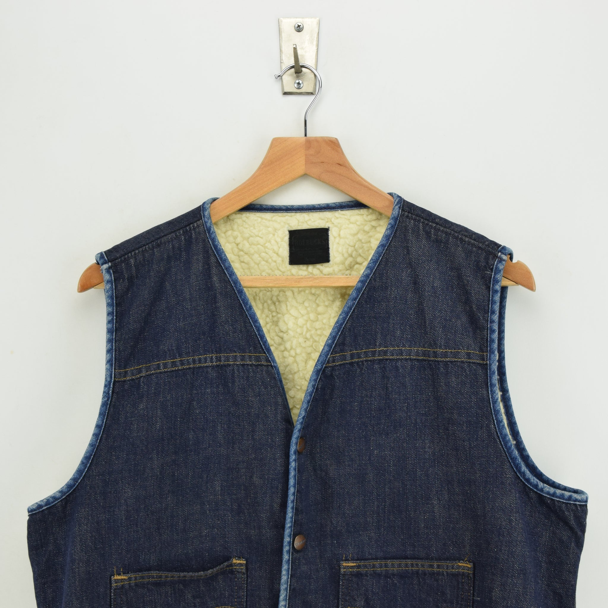 Vintage Sears Roebucks Blue Gilet Cotton Denim Waistcoat Vest Made in USA L chest