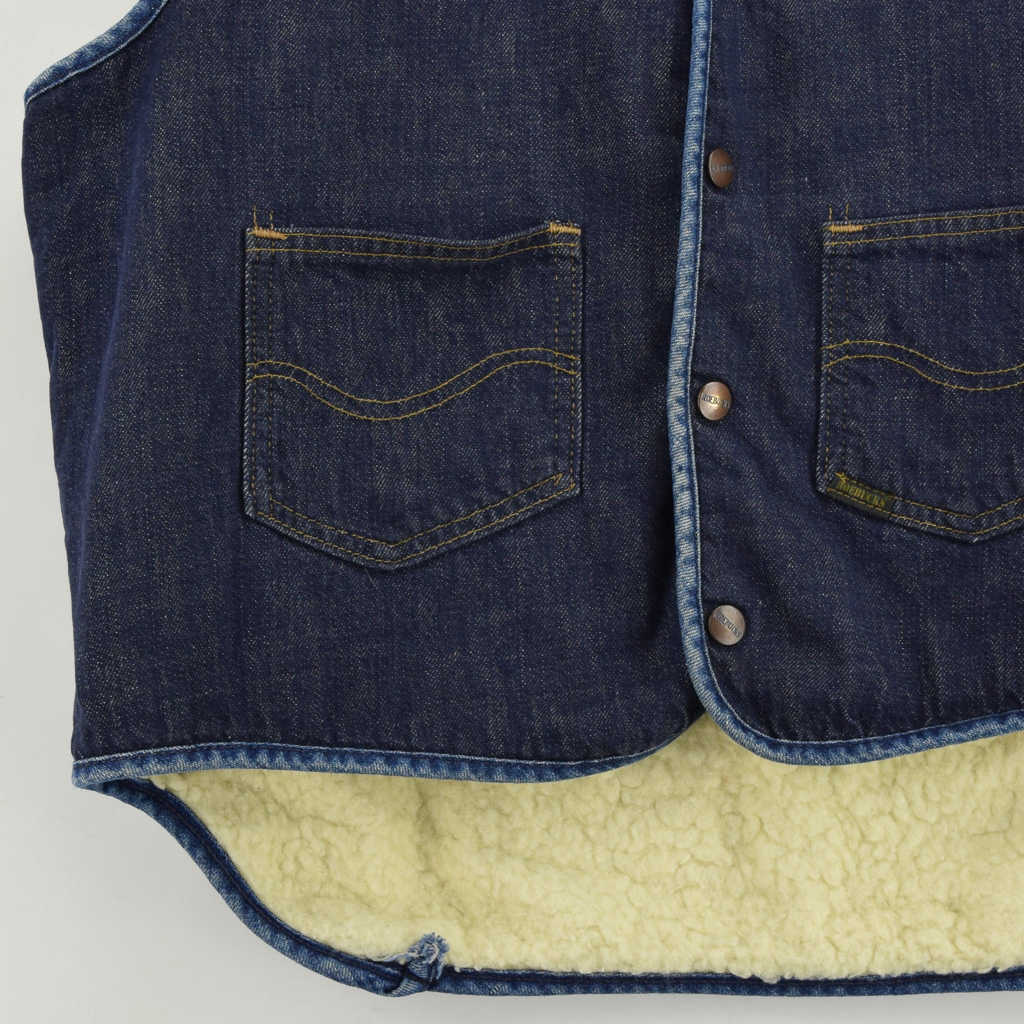 Vintage Sears Roebucks Blue Gilet Cotton Denim Waistcoat Vest Made in USA L front hem