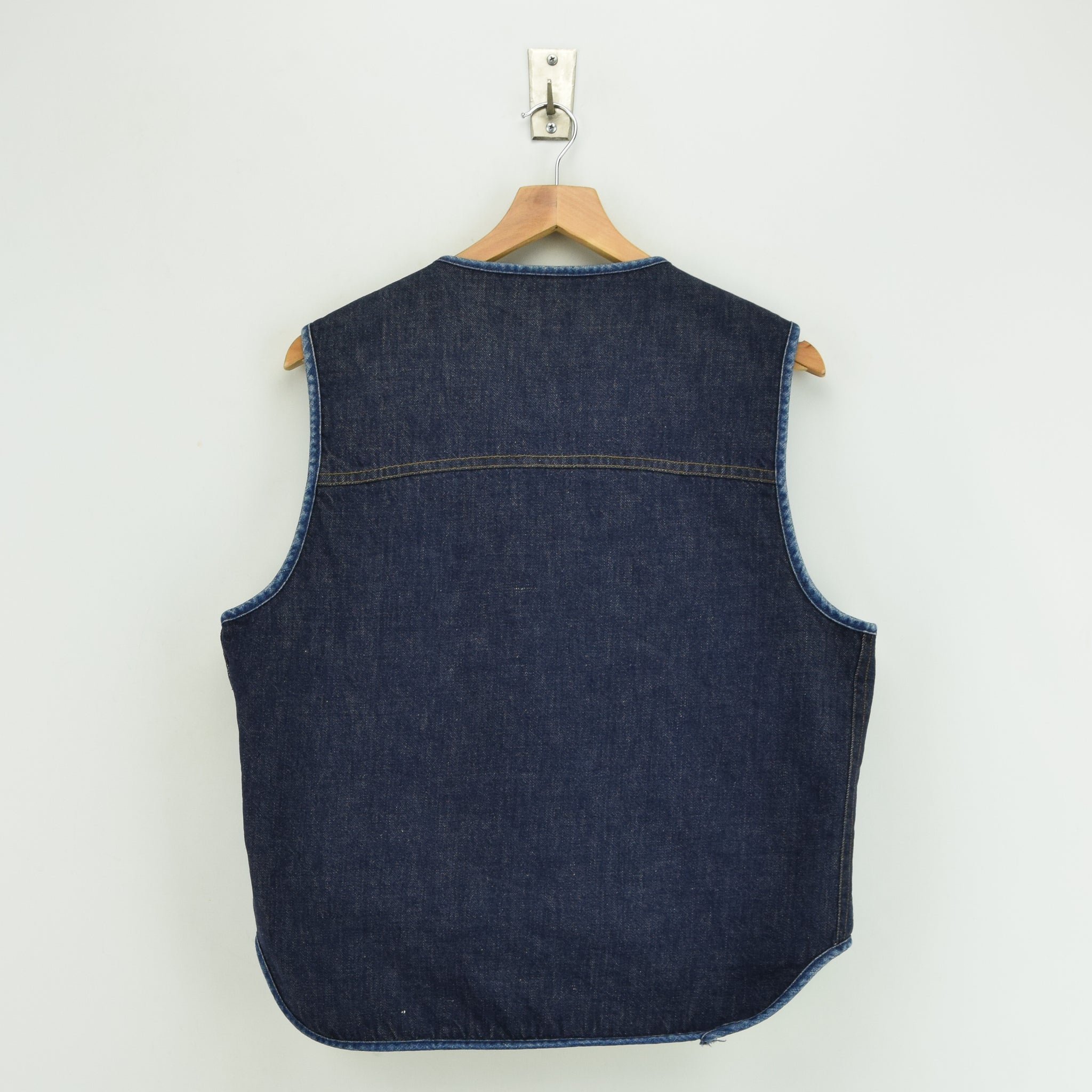 Vintage Sears Roebucks Blue Gilet Cotton Denim Waistcoat Vest Made in USA L back