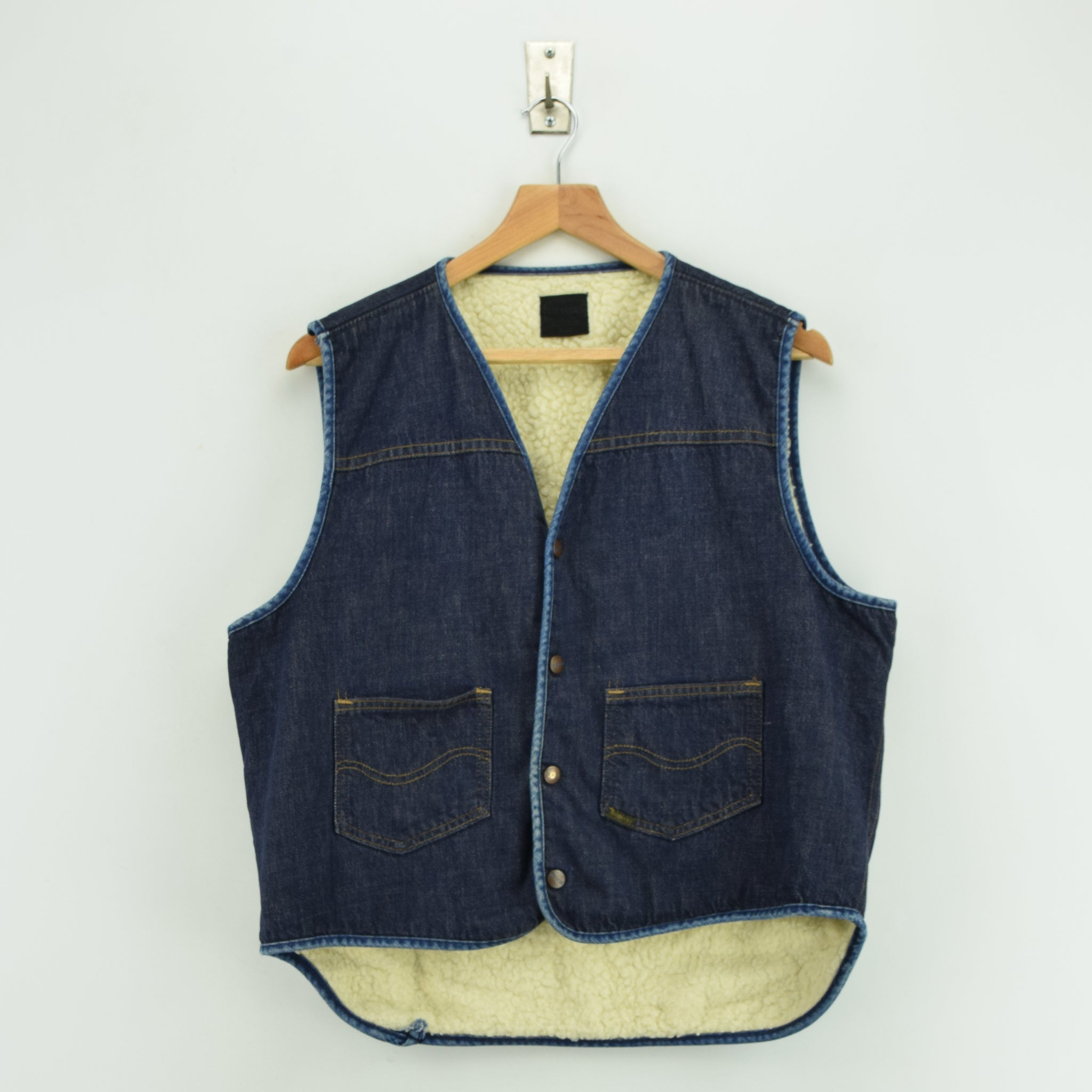 Vintage Sears Roebucks Blue Gilet Cotton Denim Waistcoat Vest Made in USA L front