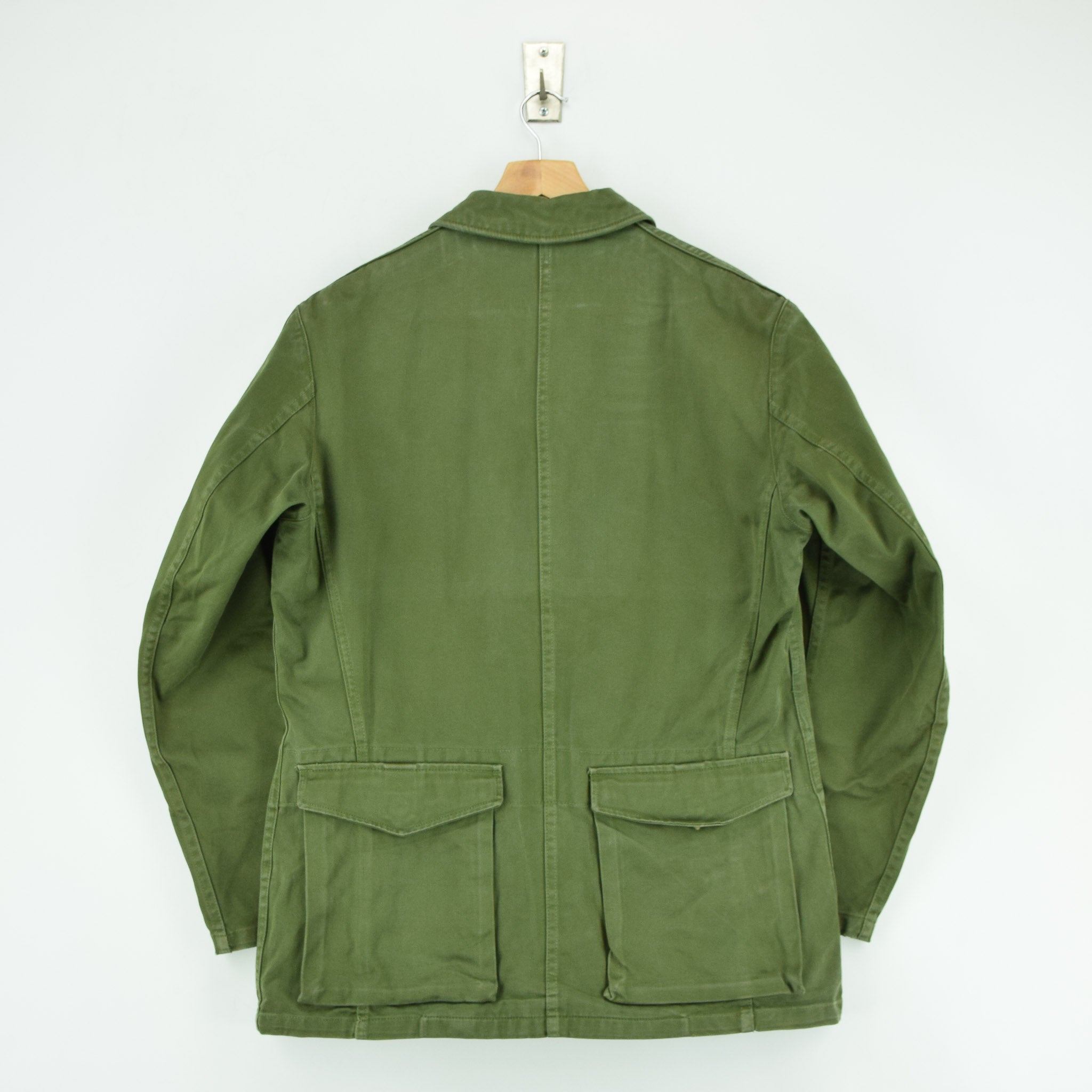 Vintage Well Worn Swedish M59 Field Military Green Worker Style Jacket M / L back