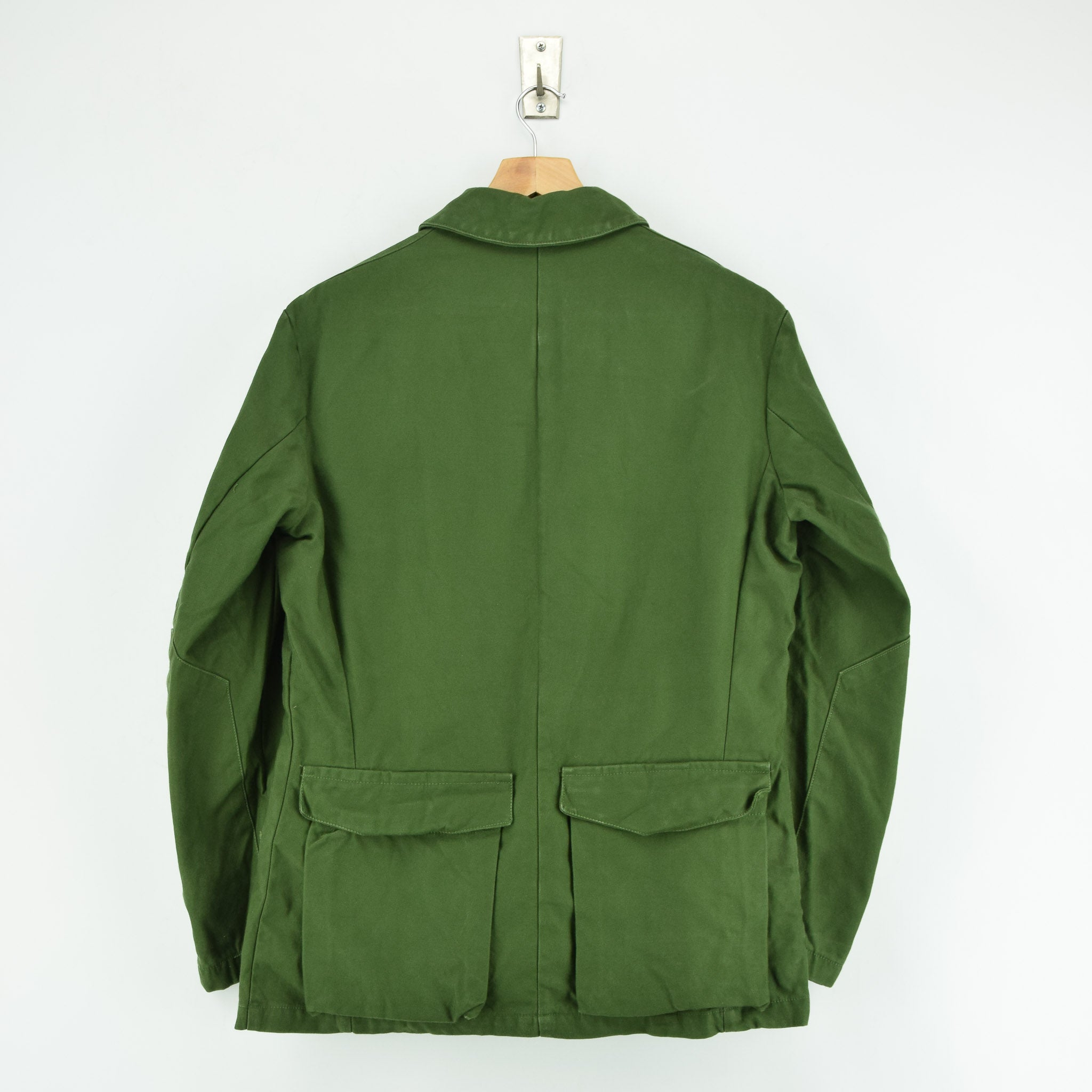 Vintage 60s Swedish M59 Field Military Olive Green Worker Style Jacket S back