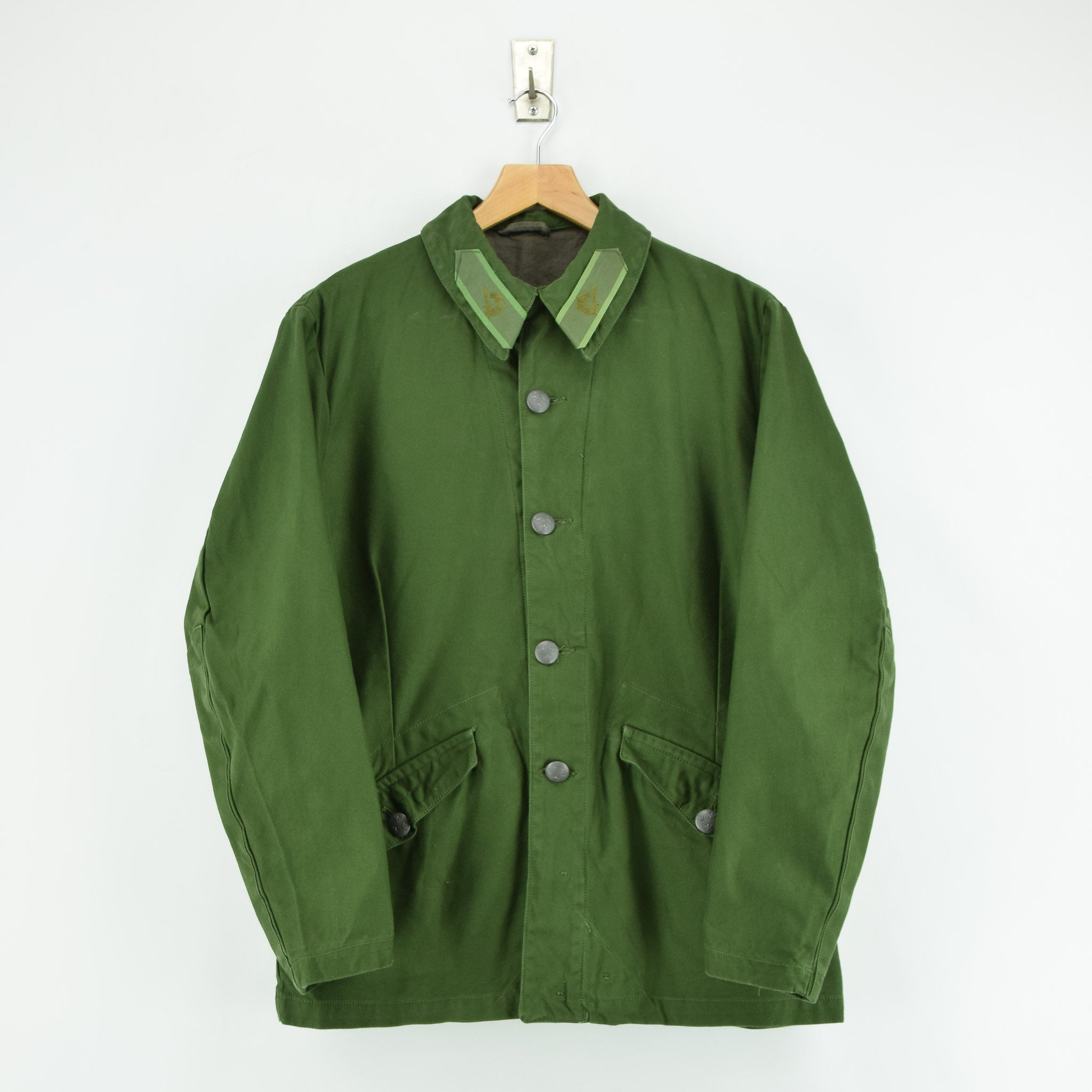 Vintage 60s Swedish M59 Field Military Olive Green Worker Style Jacket S front