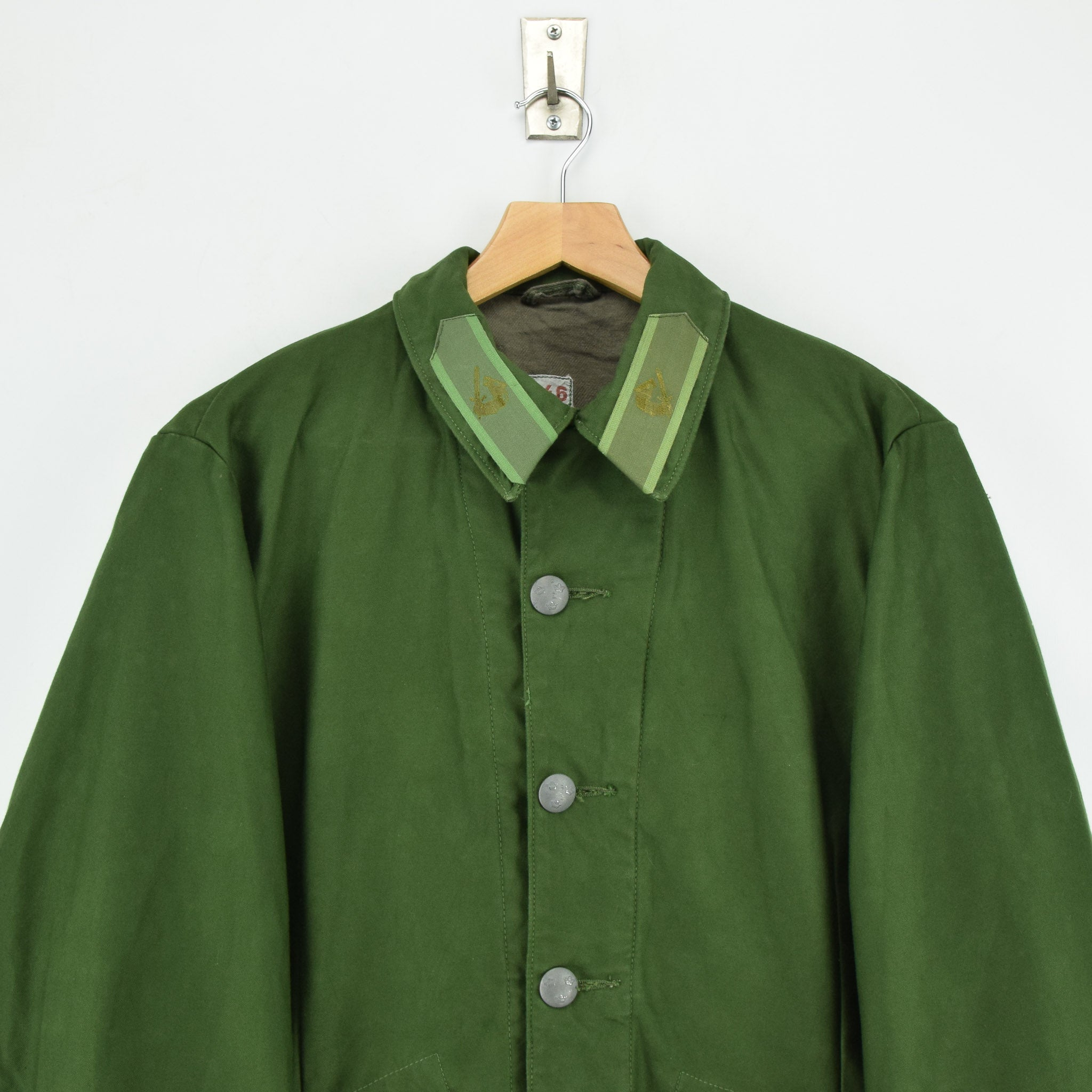 Vintage 60s Swedish M59 Field Military Olive Green Worker Style Jacket S chest