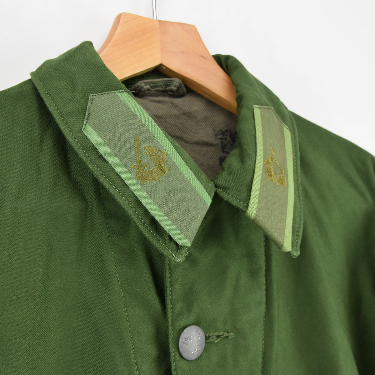 Vintage 60s Swedish M59 Field Military Olive Green Worker Style Jacket S collar