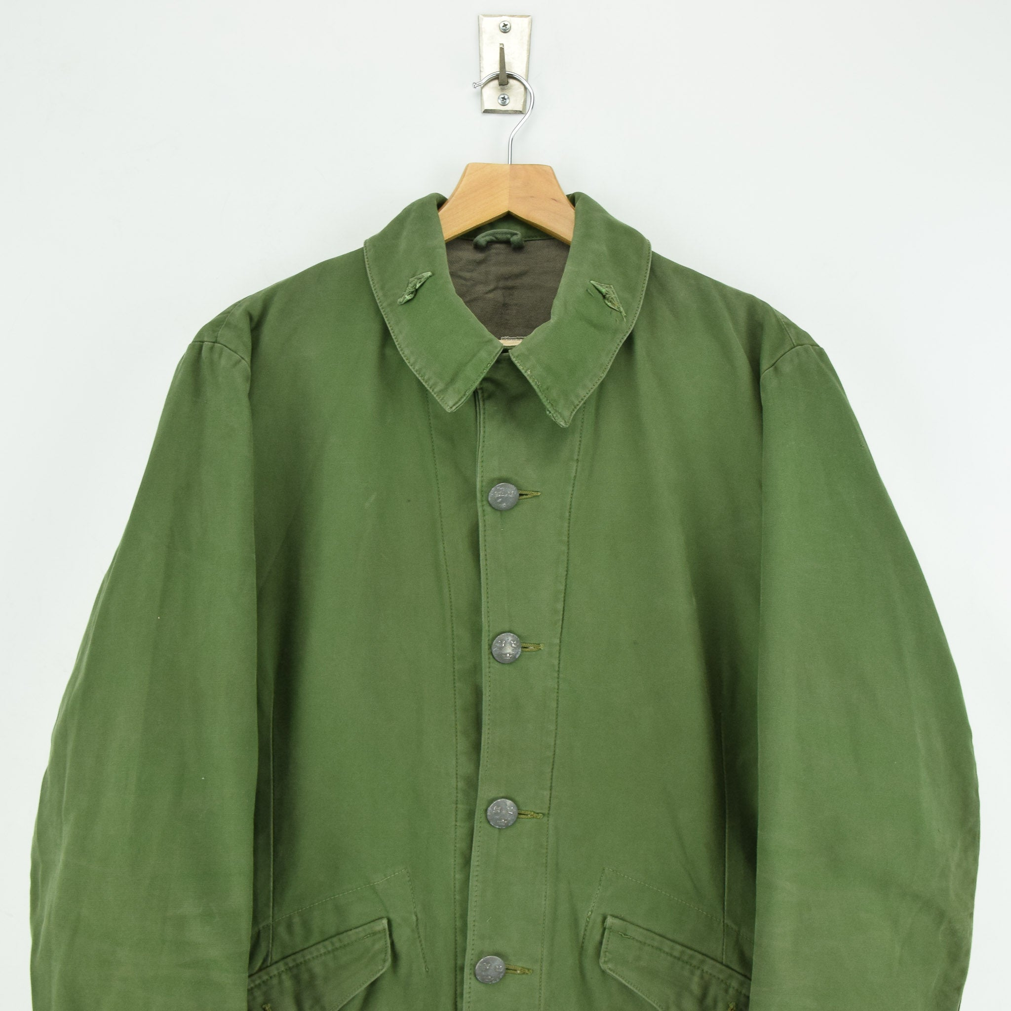Vintage Well Worn Swedish M59 Field Military Olive Green Worker Style Jacket M chest