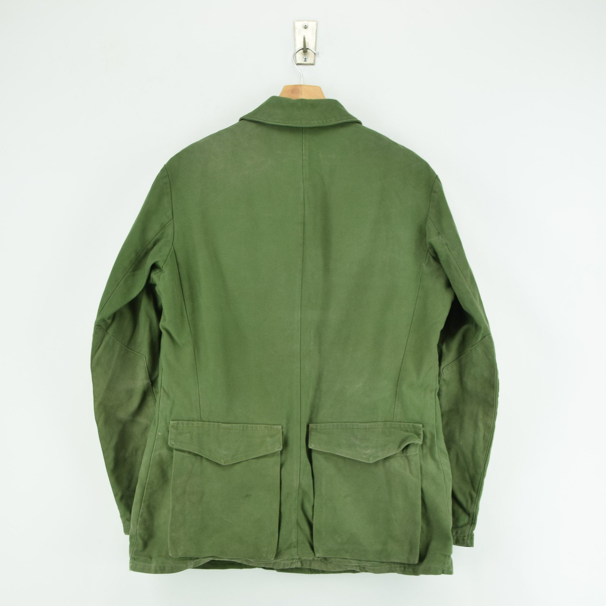 Vintage Well Worn Swedish M59 Field Military Olive Green Worker Style Jacket M back