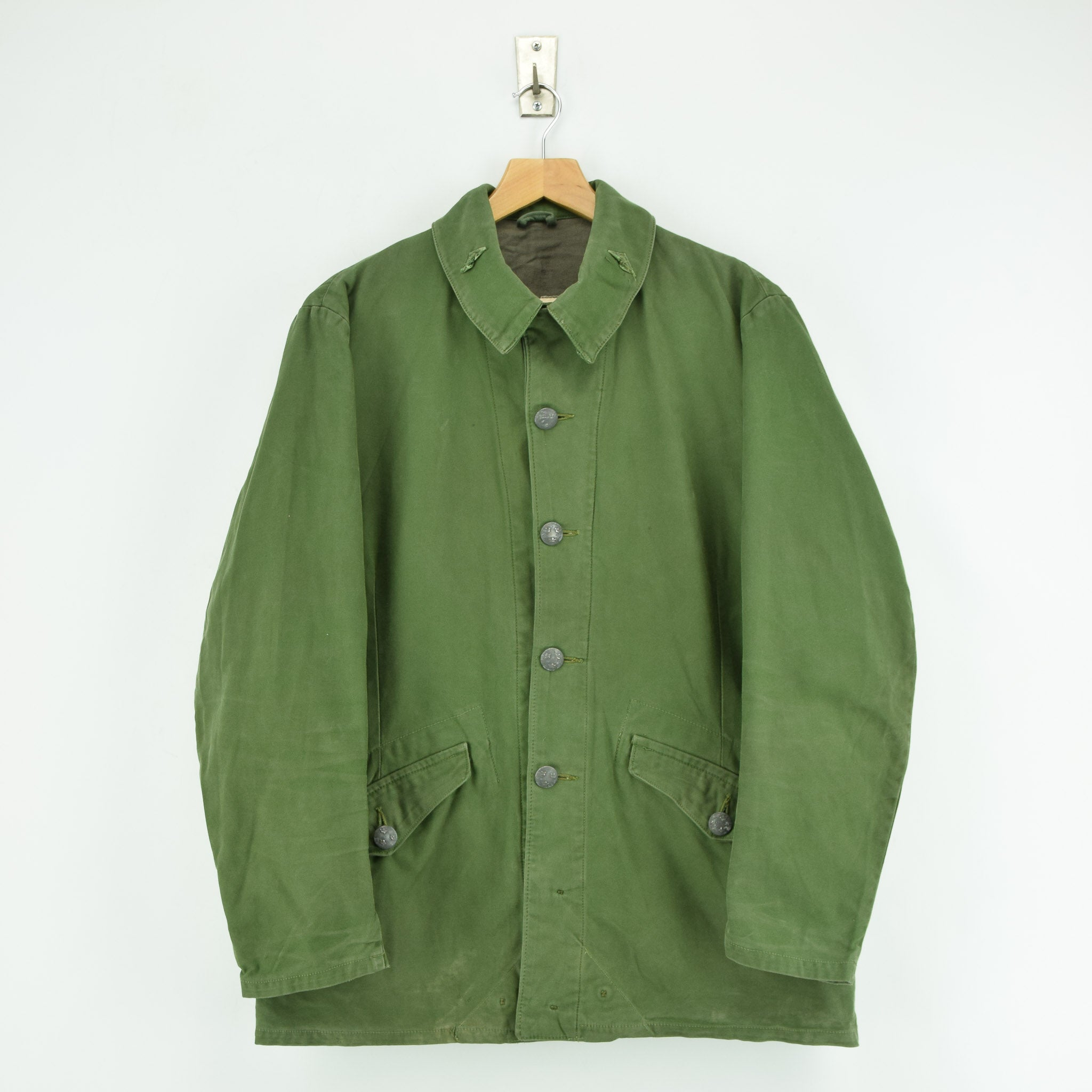 Vintage Well Worn Swedish M59 Field Military Olive Green Worker Style Jacket M front