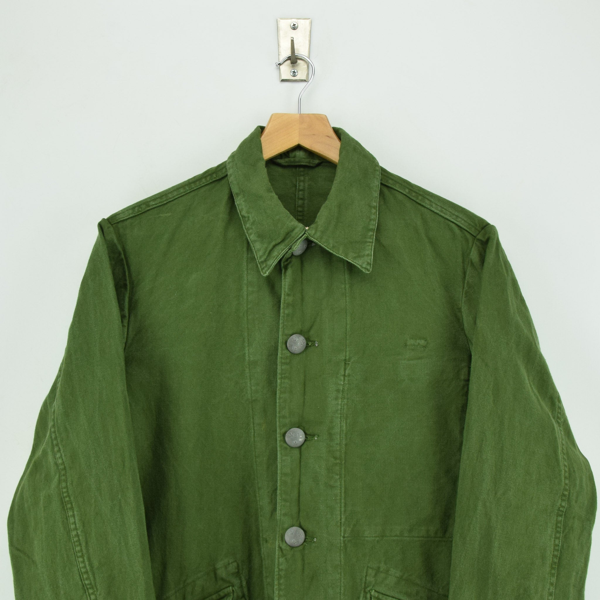 Vintage 60s Swedish Military Field Jacket Worker Style Distressed Green S chest