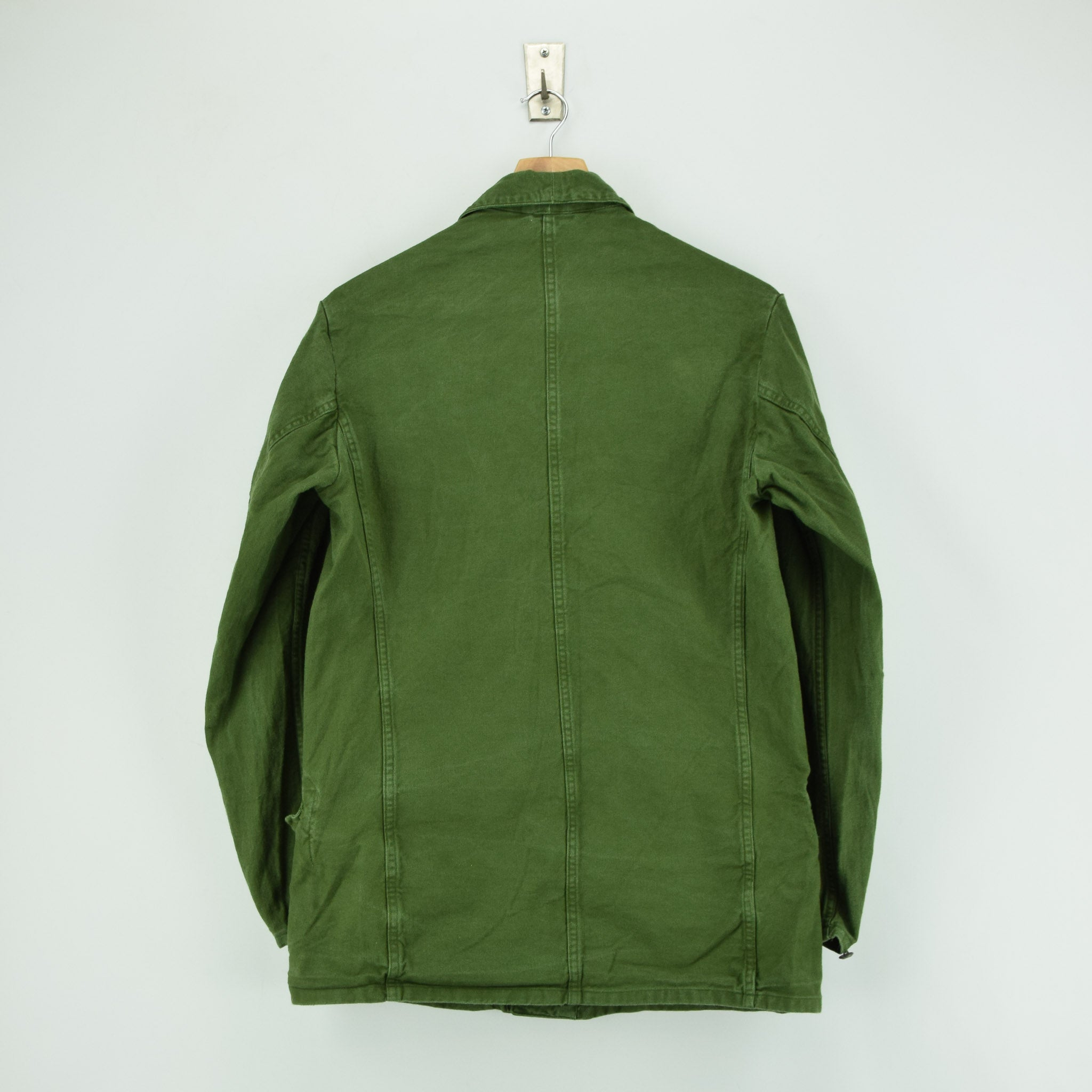 Vintage 60s Swedish Military Field Jacket Worker Style Distressed Green S back