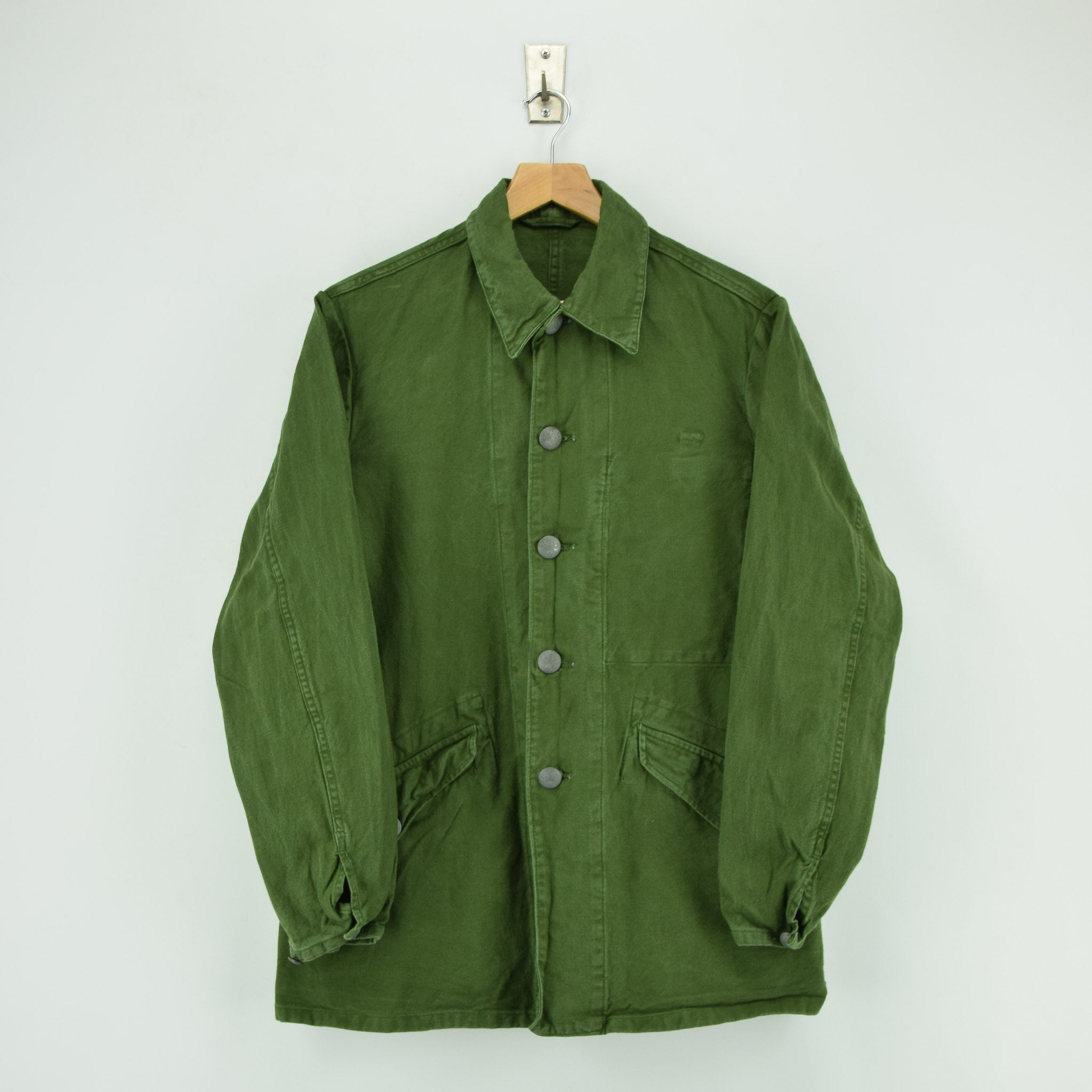 Vintage 60s Swedish Military Field Jacket Worker Style Distressed Green S front