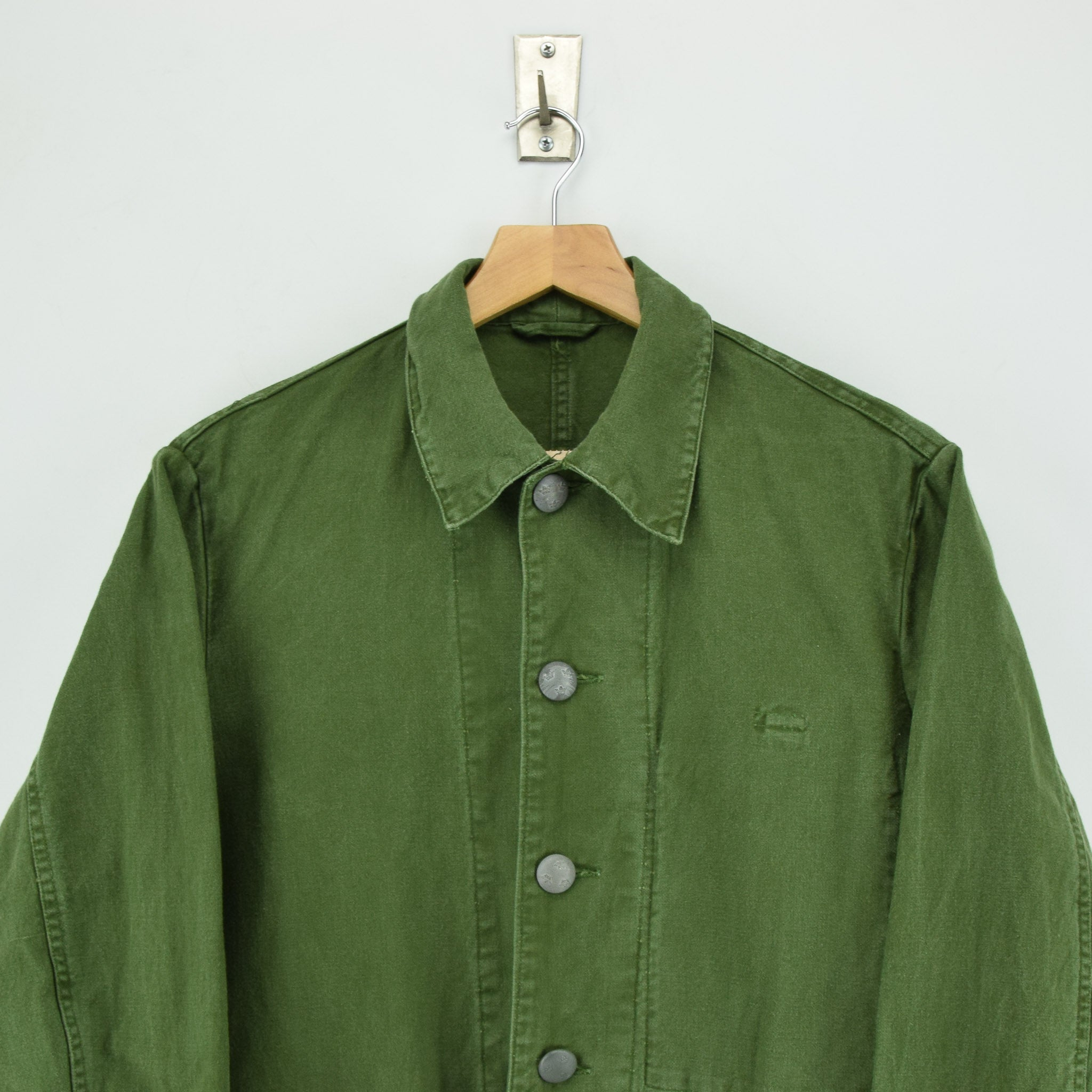 Vintage 60s Swedish Military Field Jacket Worker Style Distressed Green S / M chest