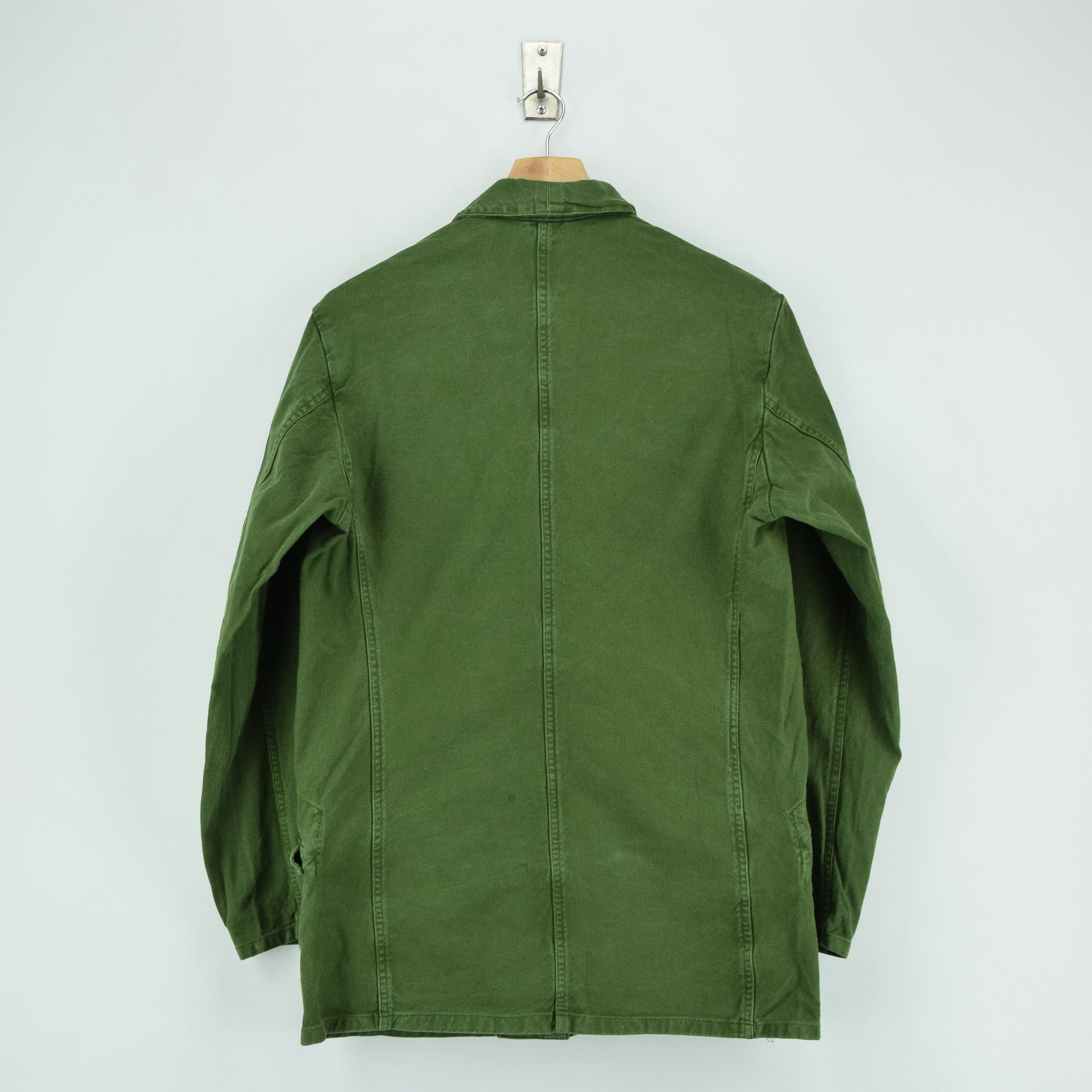 Vintage 60s Swedish Military Field Jacket Worker Style Distressed Green S / M back