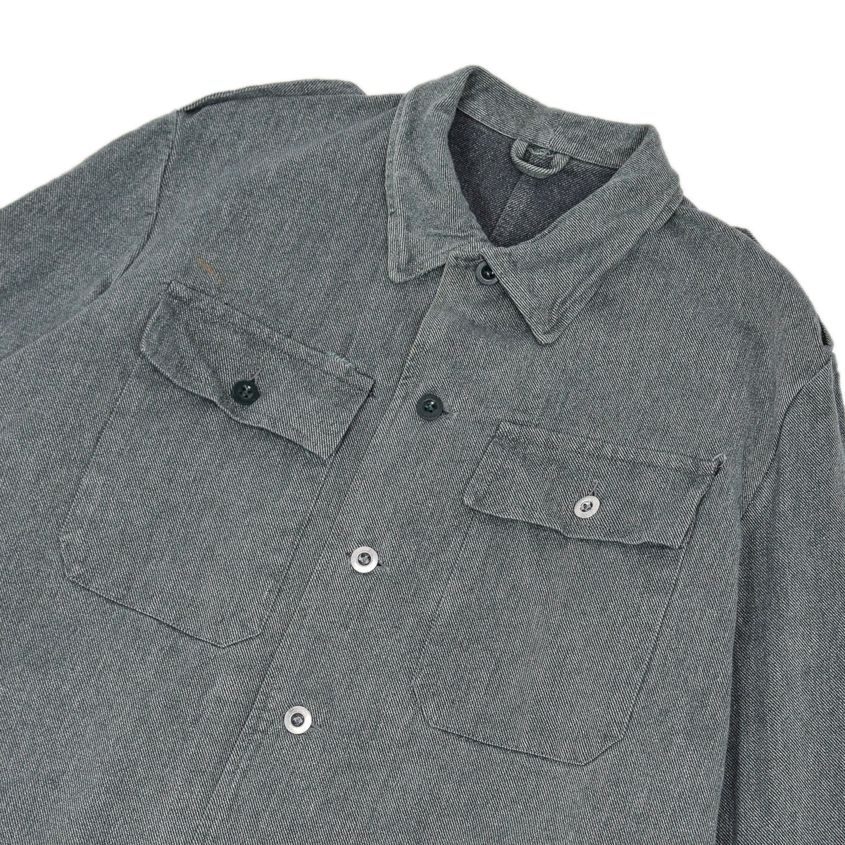Vintage 60s Swiss Army Salt & Pepper Denim Worker Chore Jacket L chest
