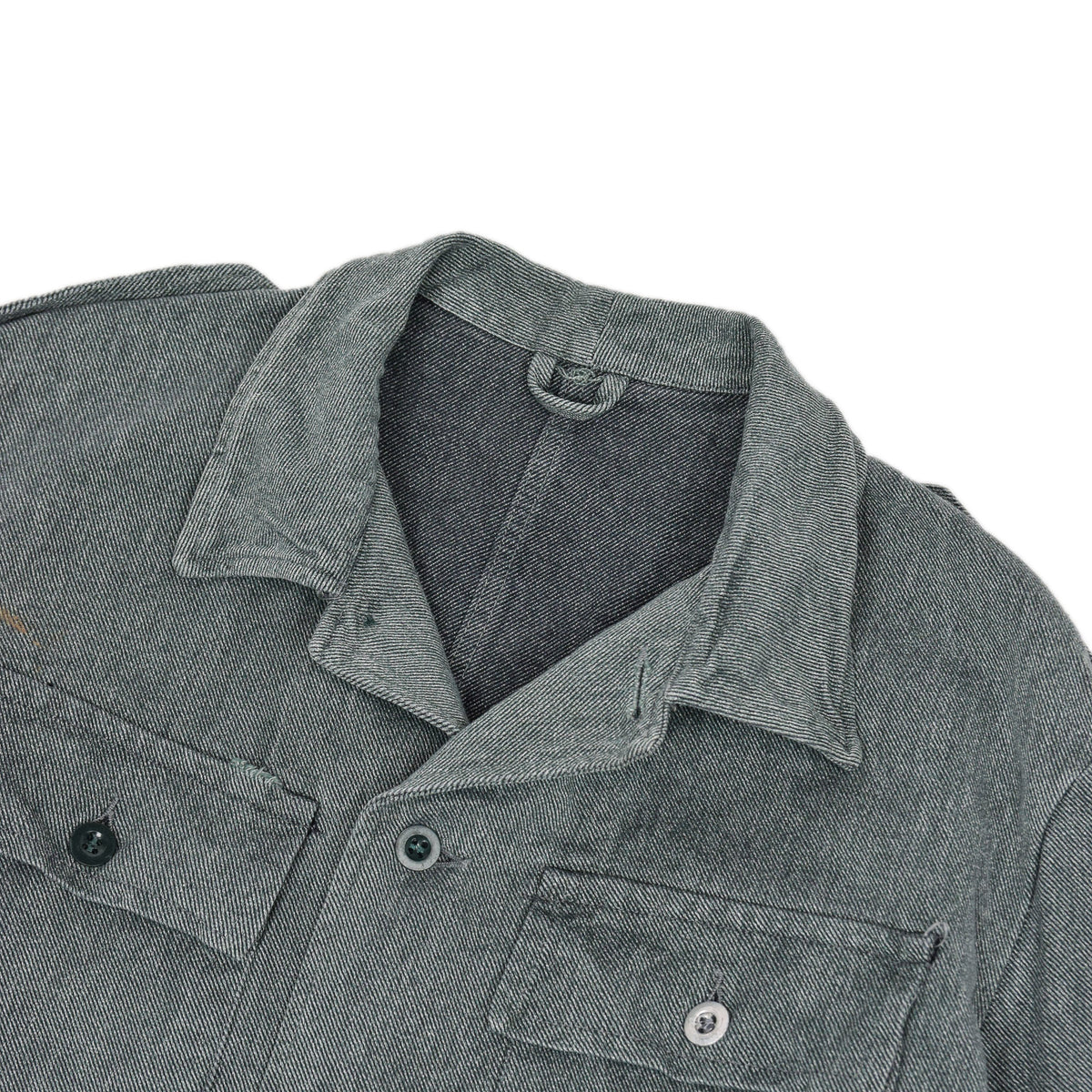Vintage 60s Swiss Army Salt & Pepper Denim Worker Chore Jacket L collar