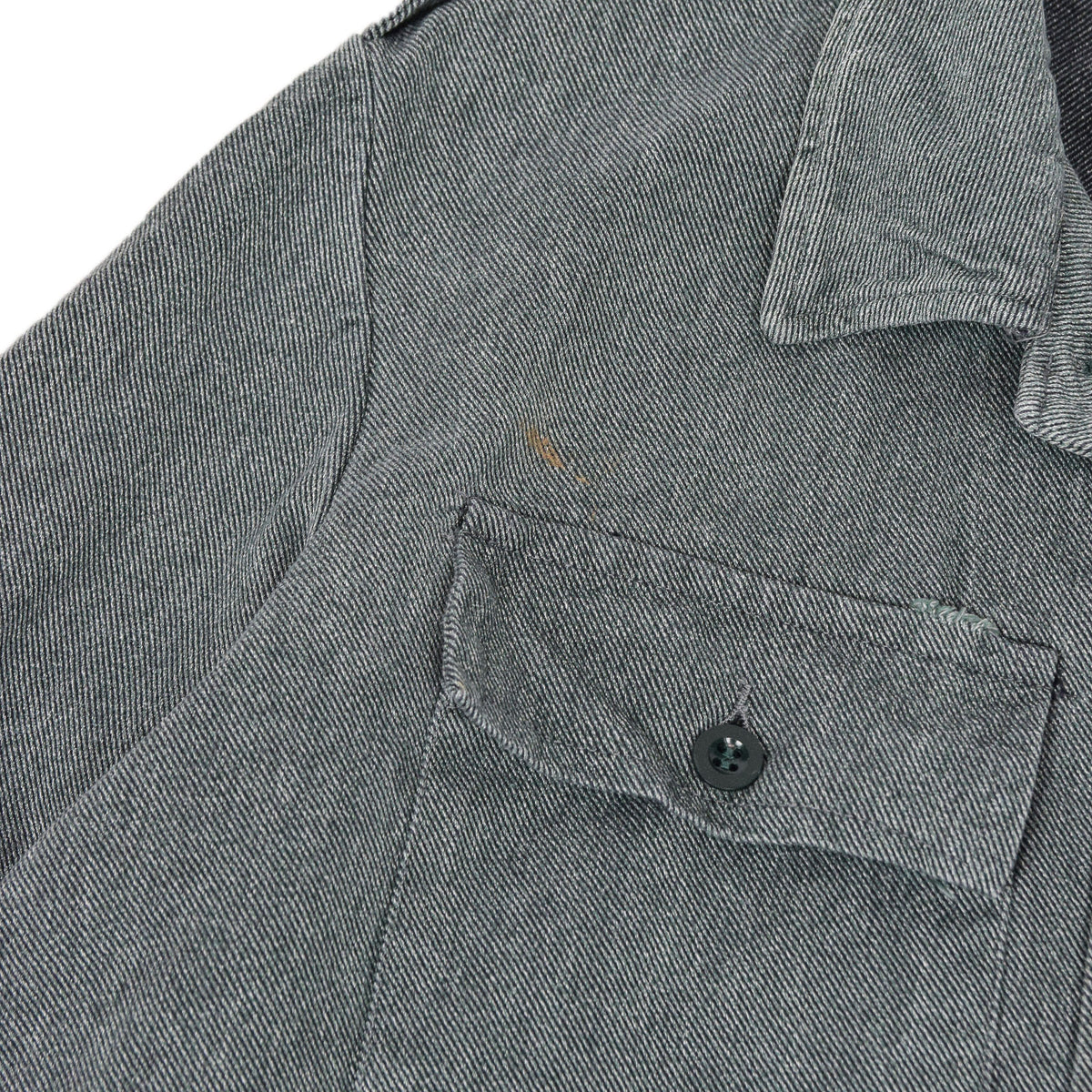 Vintage 60s Swiss Army Salt & Pepper Denim Worker Chore Jacket L chest mark