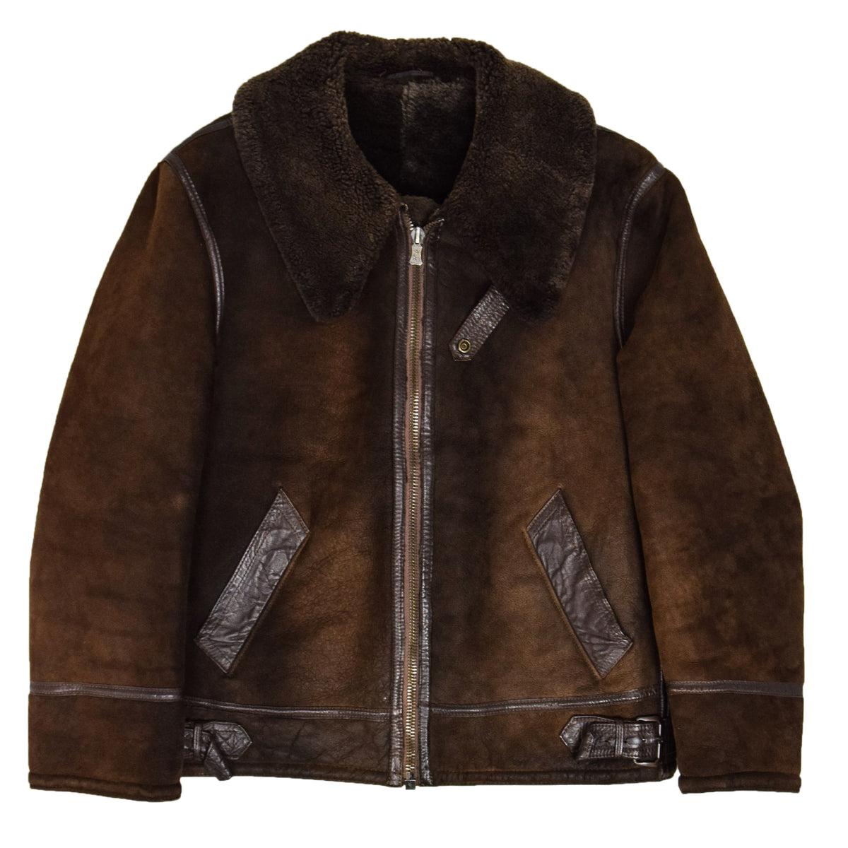 Vintage Huc Of Sweden B3 Style Shearling Sheepskin Bomber Jacket Brown L front