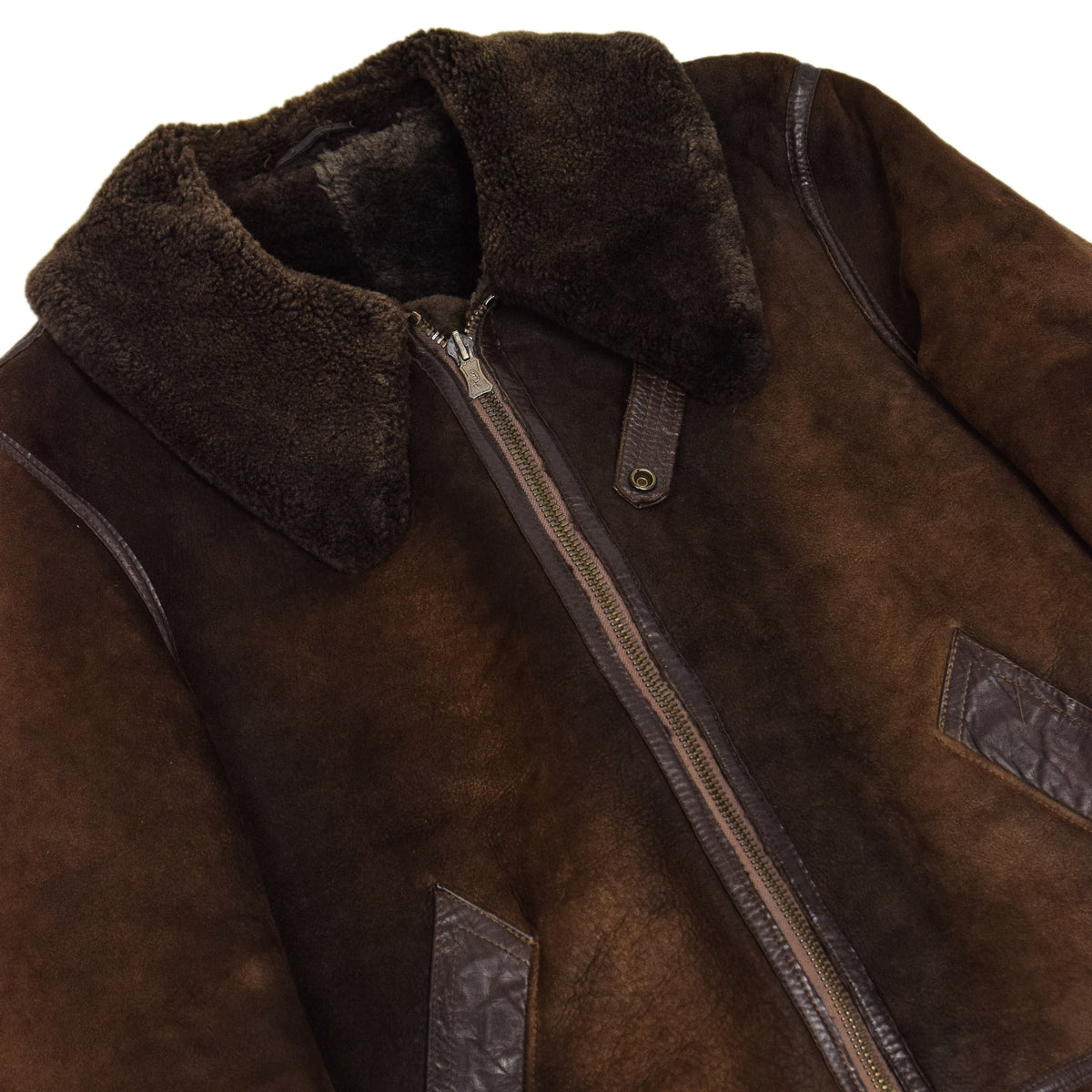Vintage Huc Of Sweden B3 Style Shearling Sheepskin Bomber Jacket Brown L chest