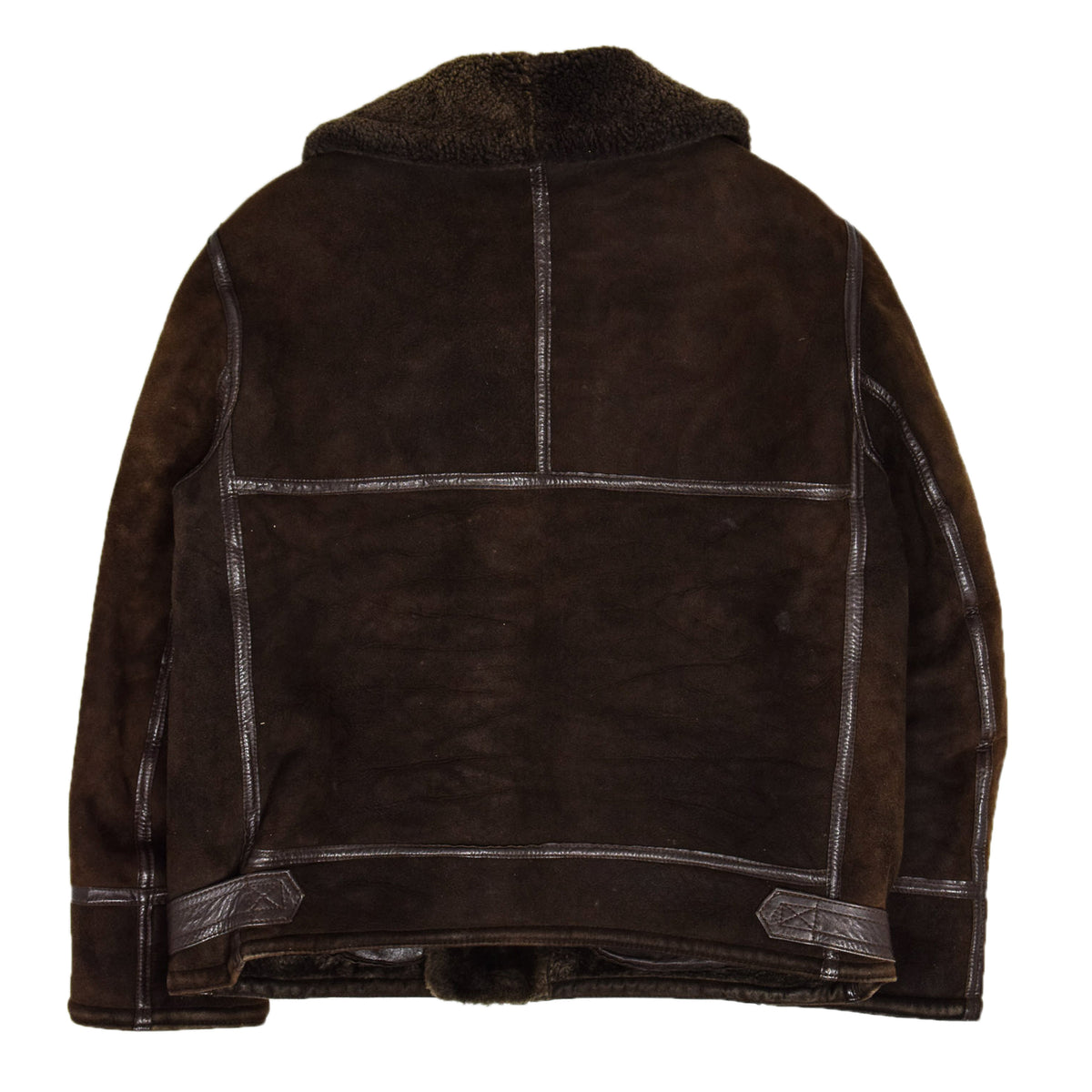 Vintage Huc Of Sweden B3 Style Shearling Sheepskin Bomber Jacket Brown L back