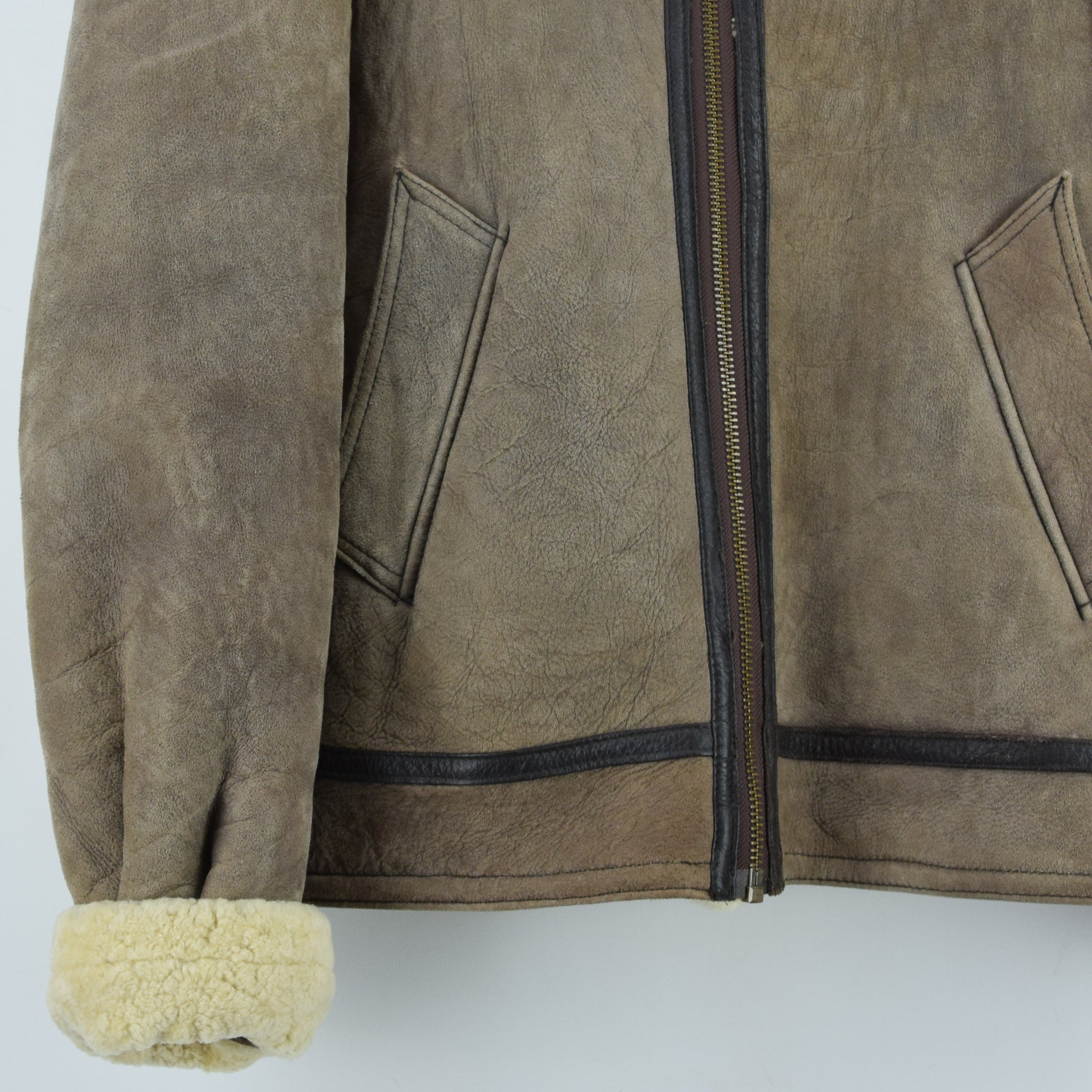 Vintage Original Shearling B3 Flying Brown Sheepskin Aviator Bomber Jacket XXL front hem