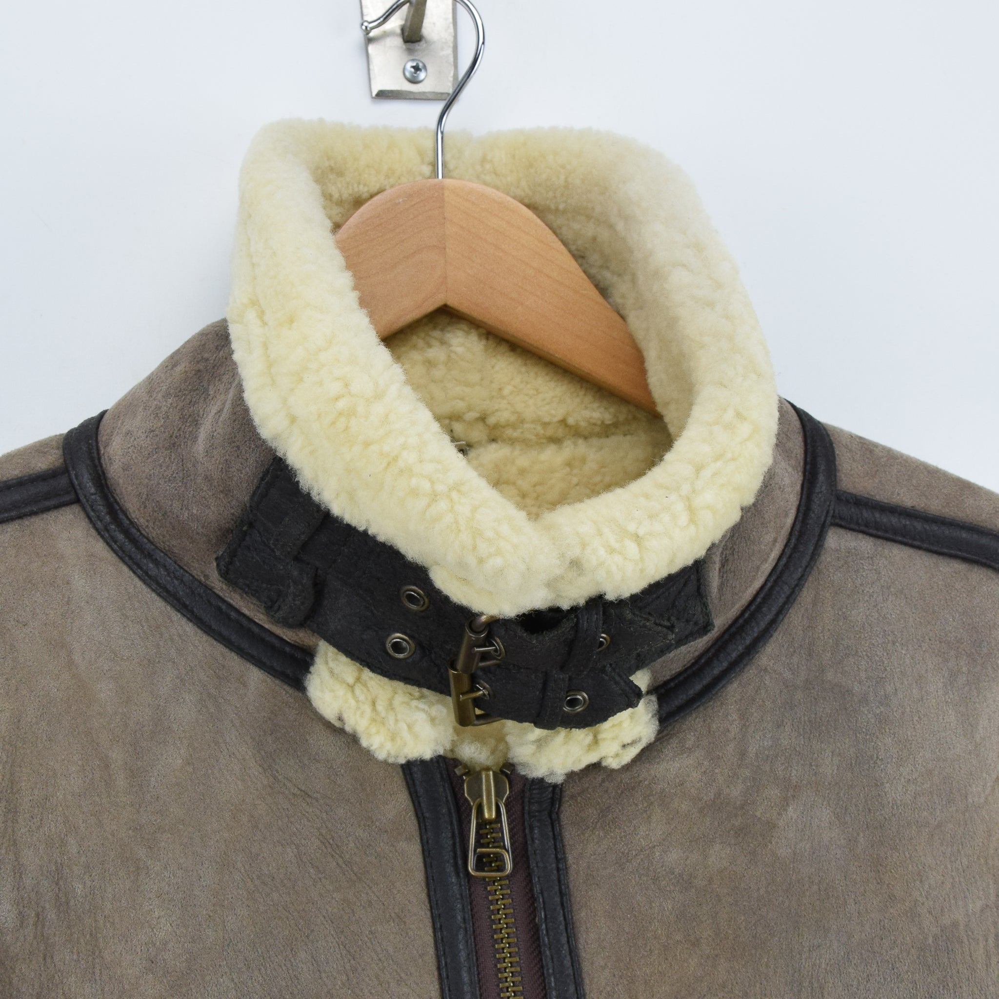 Vintage Original Shearling B3 Flying Brown Sheepskin Aviator Bomber Jacket XXL collar