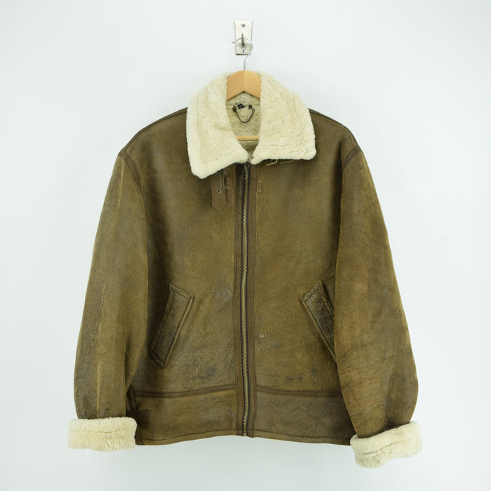 Vintage B3 Flying Shearling Sheepskin Aviator USAF Style Bomber Jacket L / XL front