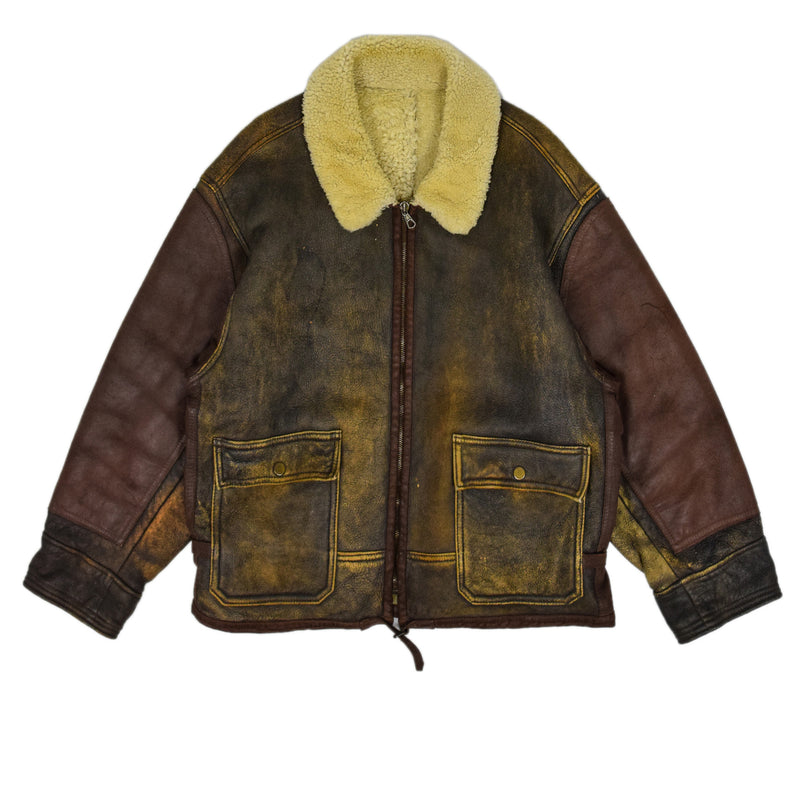 Vintage C.P. Company Massimo Osti B3 Sheepskin Leather Jacket Made in Italy XXL front