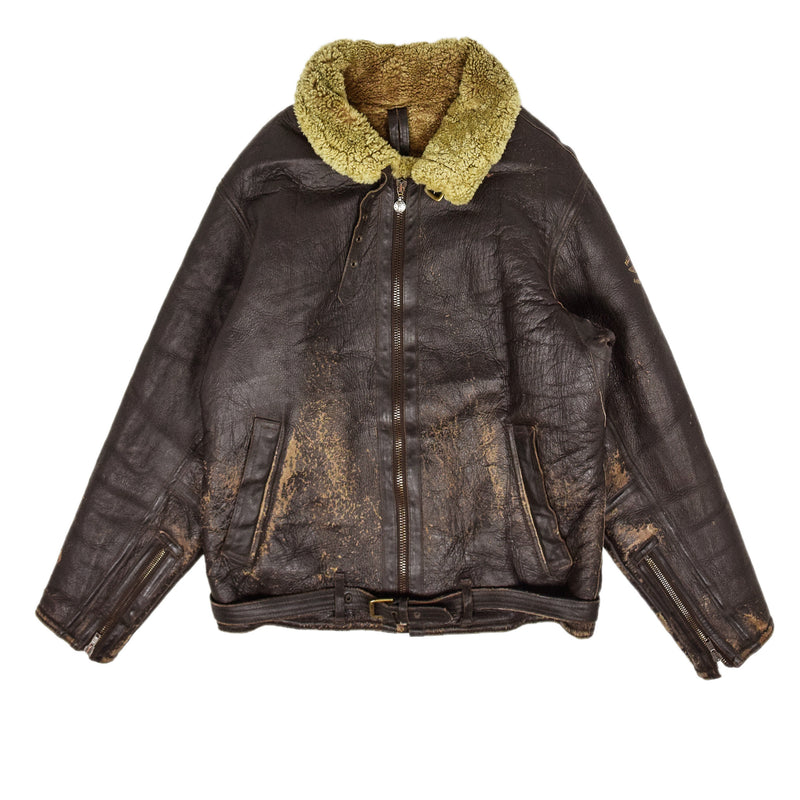 Vintage Pall Mall B3 Flying Brown Shearling Sheepskin Aviator Bomber Jacket XL front