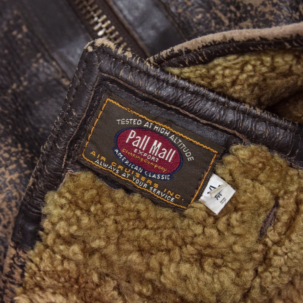 Vintage Pall Mall B3 Flying Brown Shearling Sheepskin Aviator Bomber Jacket XL label