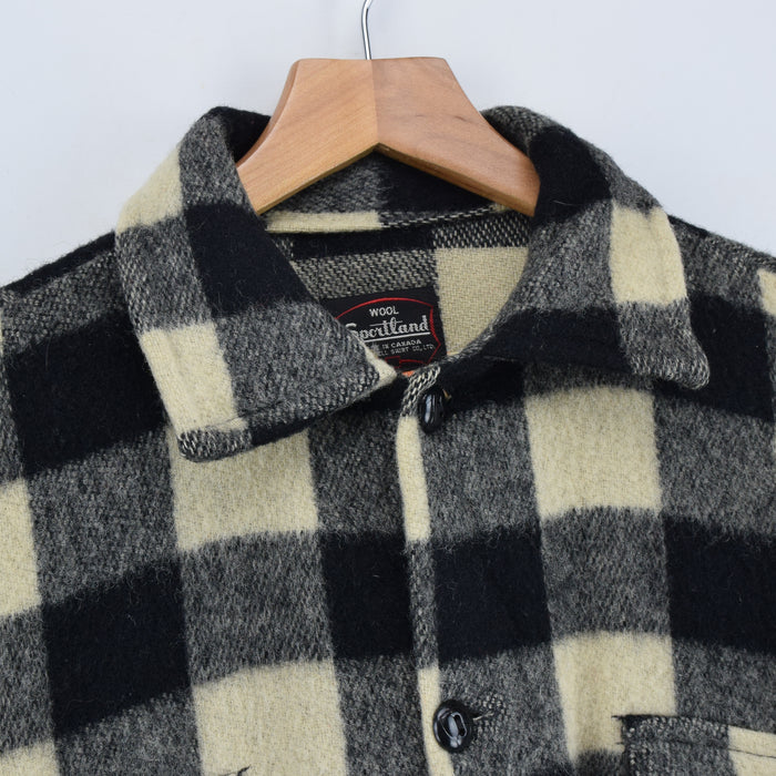 Vintage Sportland Plaid Made in Canada Wool Check CPO Style Shirt Jacket L collar