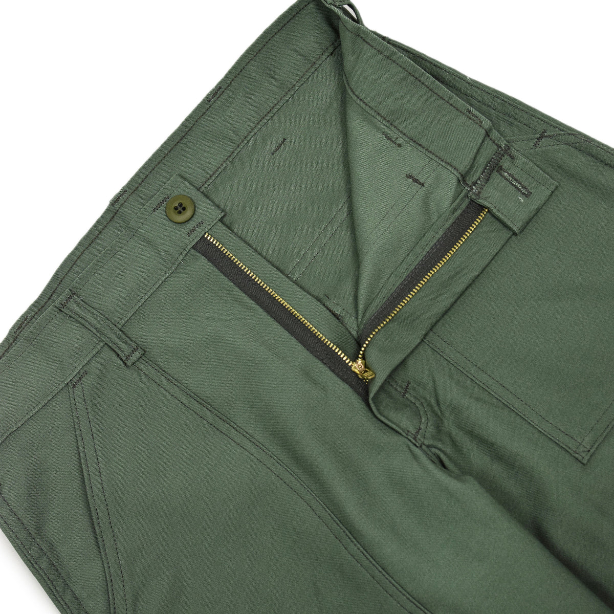 Stan Ray OG Loose Fatigue Trouser Olive Sateen Made in USA fly
