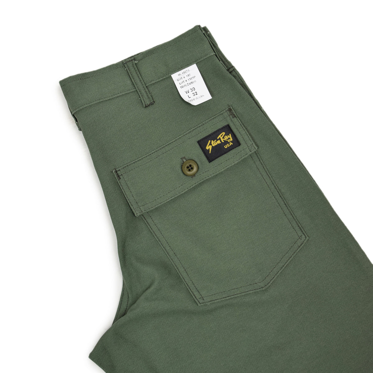 Stan Ray OG Loose Fatigue Trouser Olive Sateen Made in USA back pocket