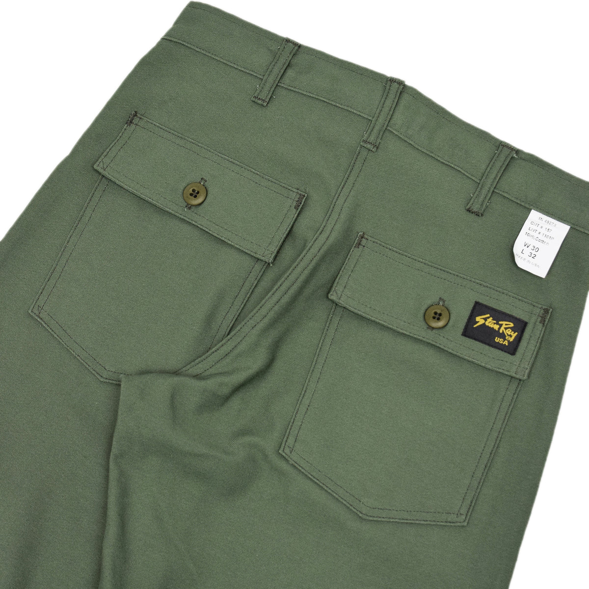 Stan Ray OG Loose Fatigue Trouser Olive Sateen Made in USA back details