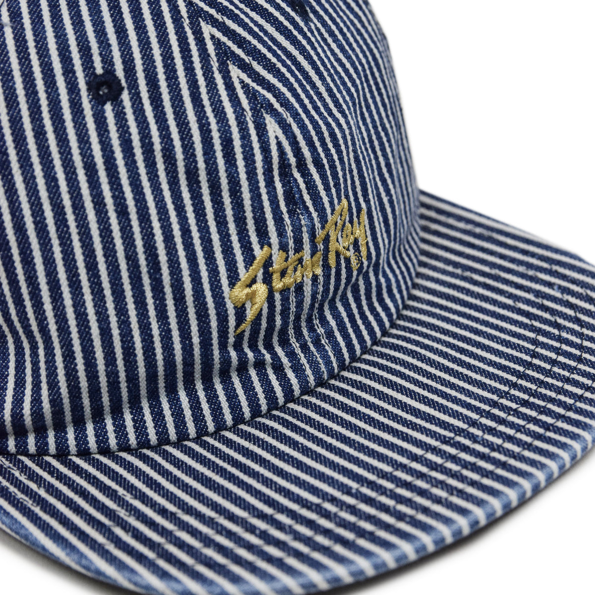 Stan Ray Ball Cap Bleached Hickory Stripe Made In USA woven patch