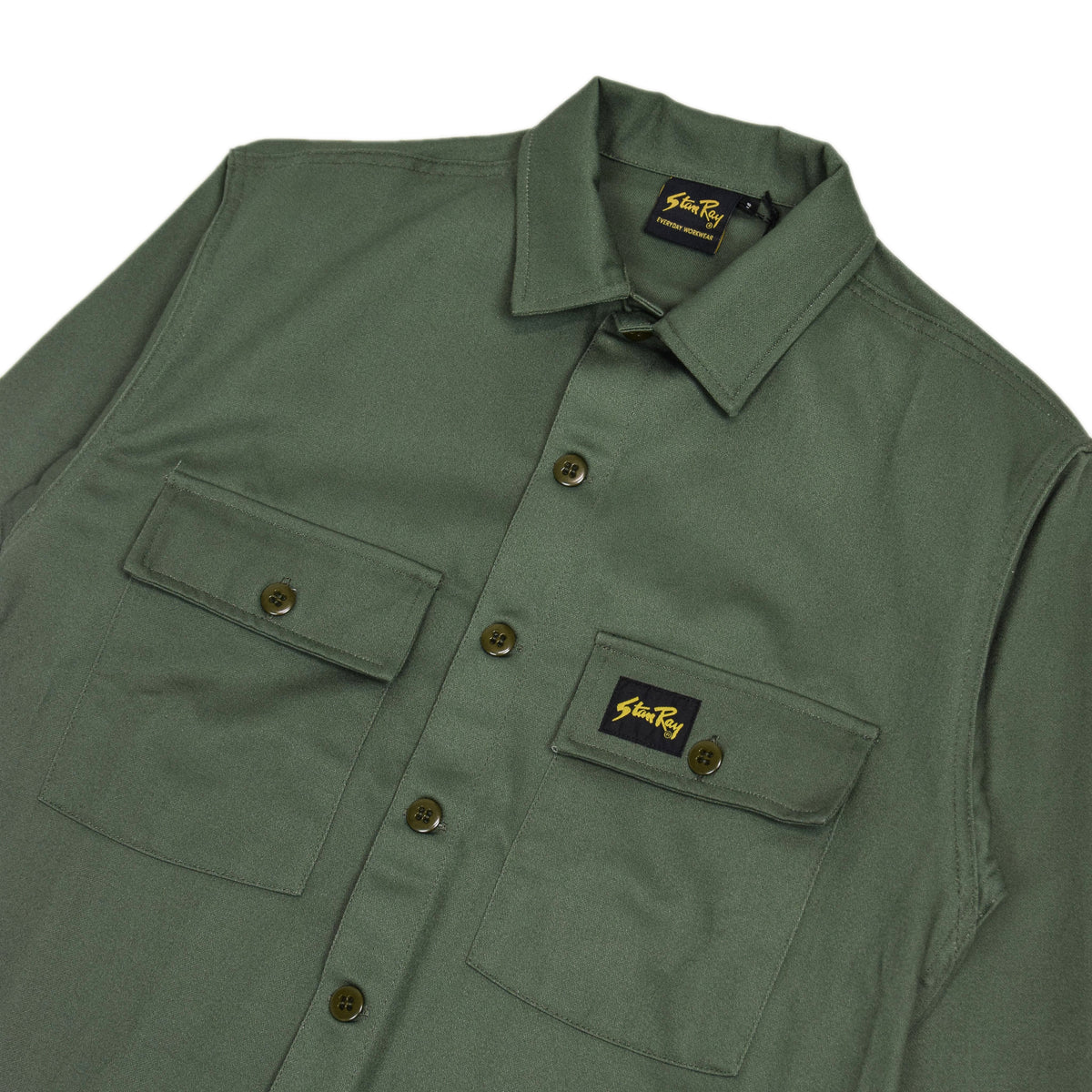 Stan Ray Olive Sateen CPO Overshirt Made In Portugal chest
