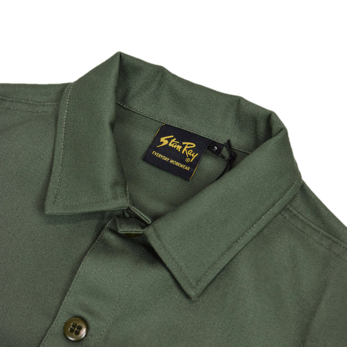 Stan Ray Olive Sateen CPO Overshirt Made In Portugal collar