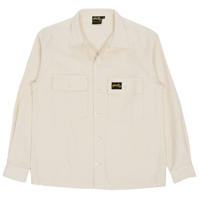Stan Ray Natural Sateen CPO Cotton Overshirt White FRONT