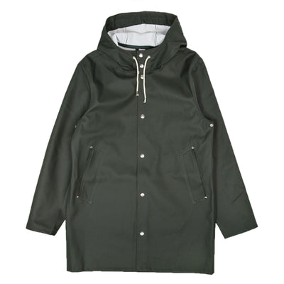 Stutterheim Stockholm Rubberised Raincoat Jacket Green Front