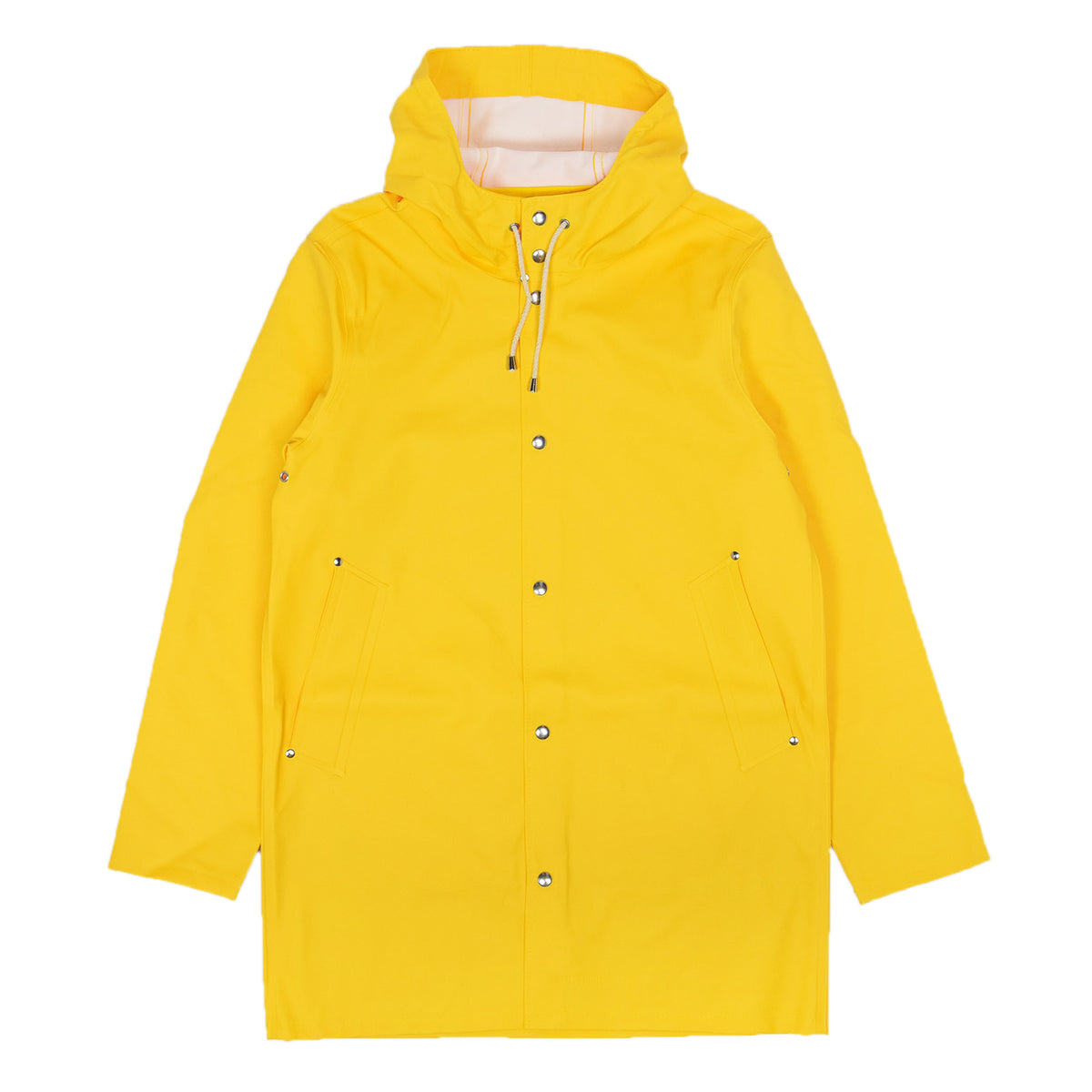 Stutterheim Stockholm Rubberised Raincoat Jacket Yellow Front