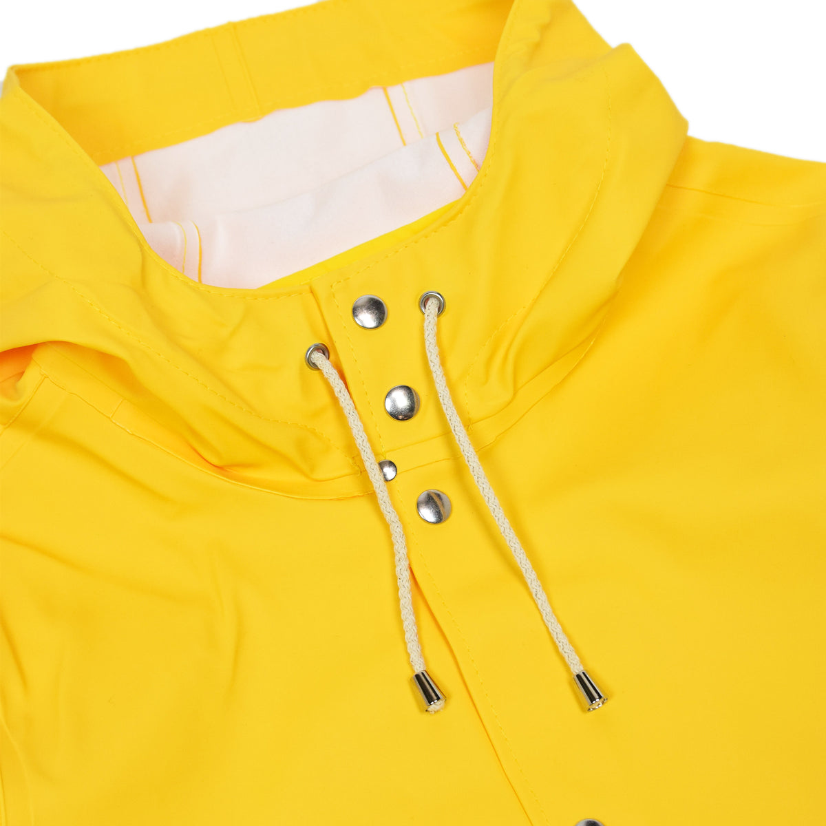 Stutterheim Stockholm Rubberised Raincoat Jacket Yellow Snap Front