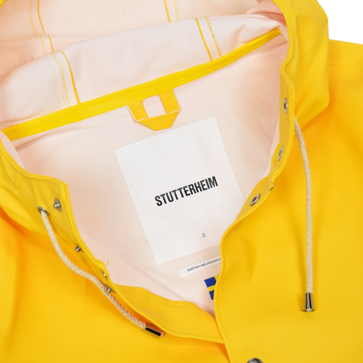 Stutterheim Stockholm Rubberised Raincoat Jacket Yellow Label